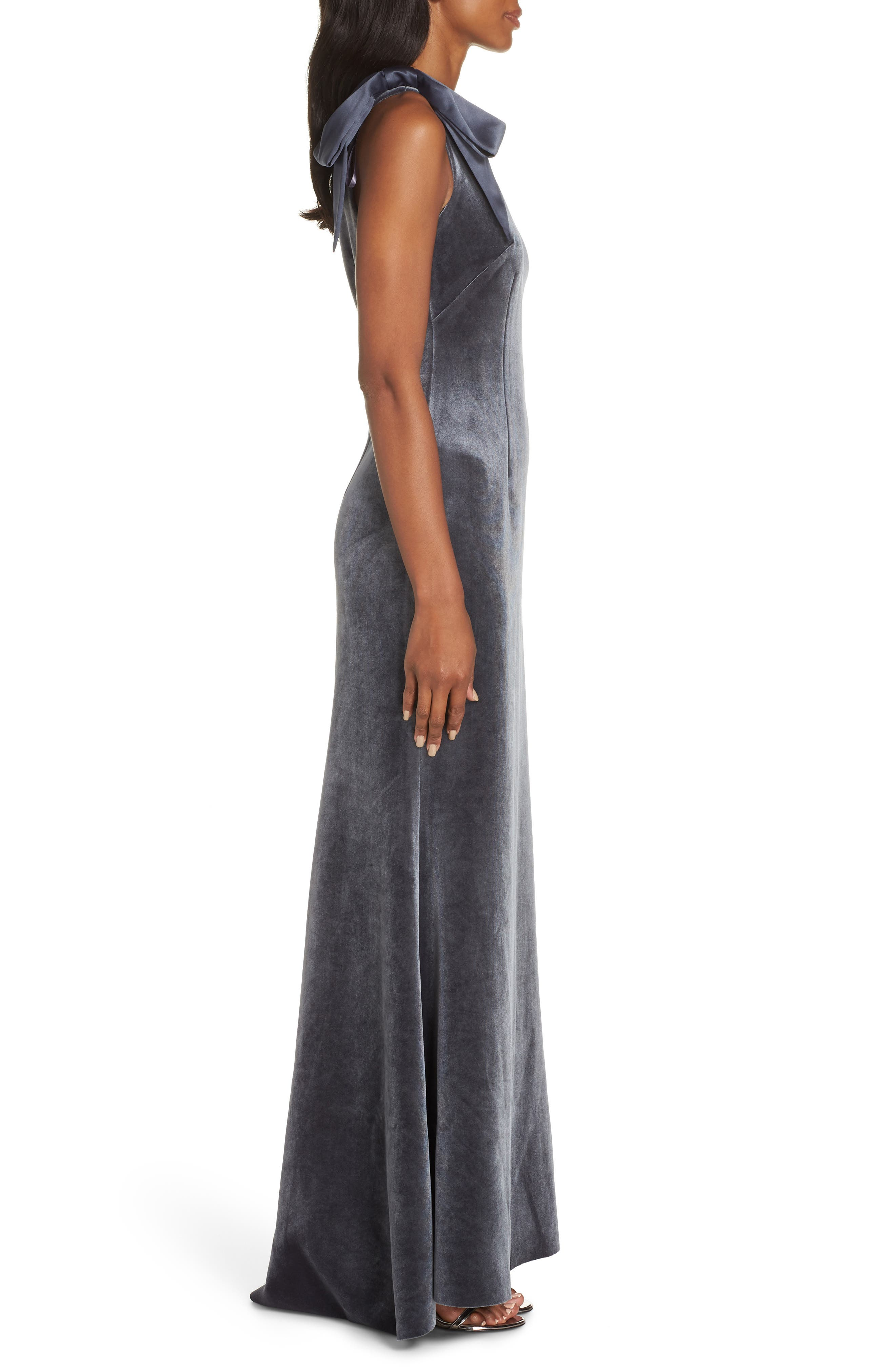 Bow One-Shoulder Velvet Gown,                             Alternate thumbnail 3, color,                             STEEL