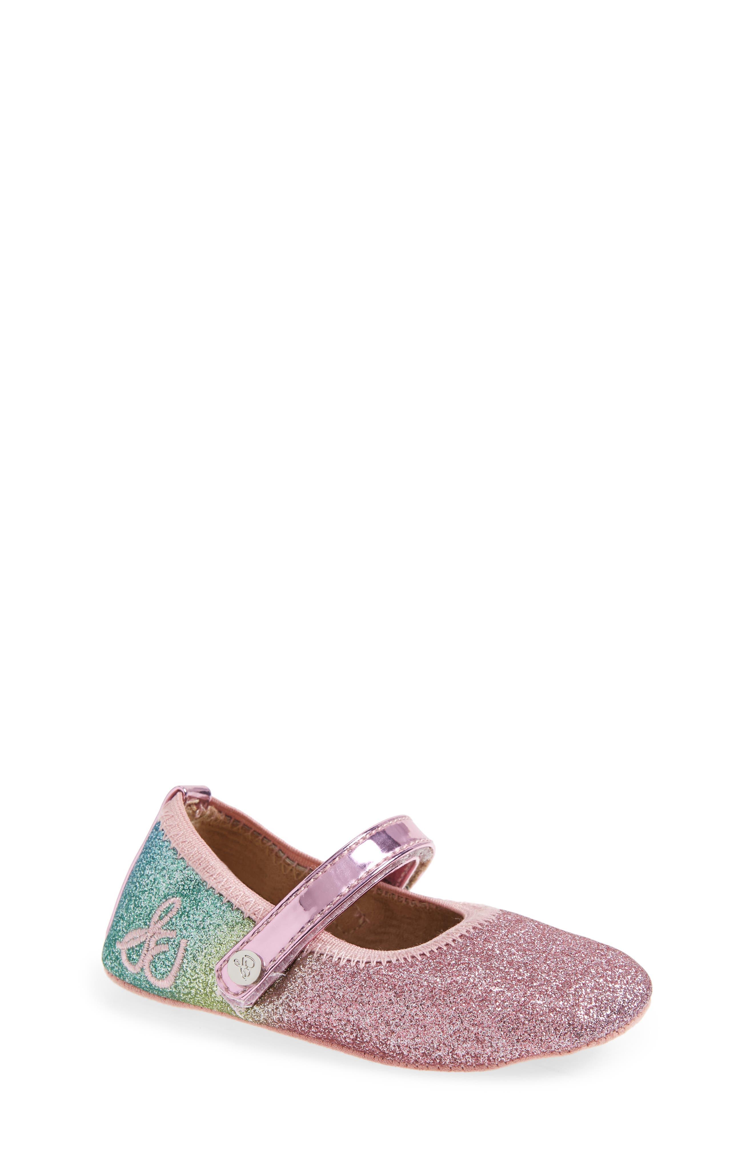 Glitter Rainbow Dancer Mary Jane Crib Shoe,                         Main,                         color, 650