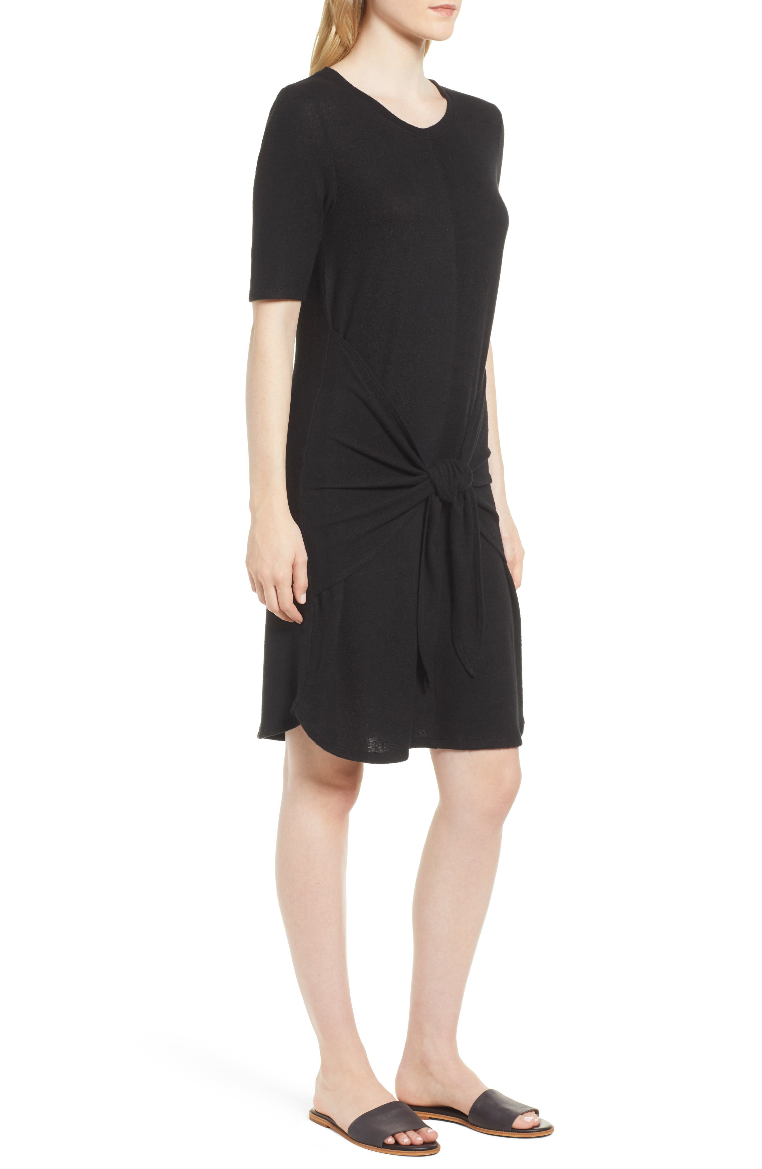 Caslon Off-Duty Tie Front Knit Dress,                             Alternate thumbnail 3, color,                             001