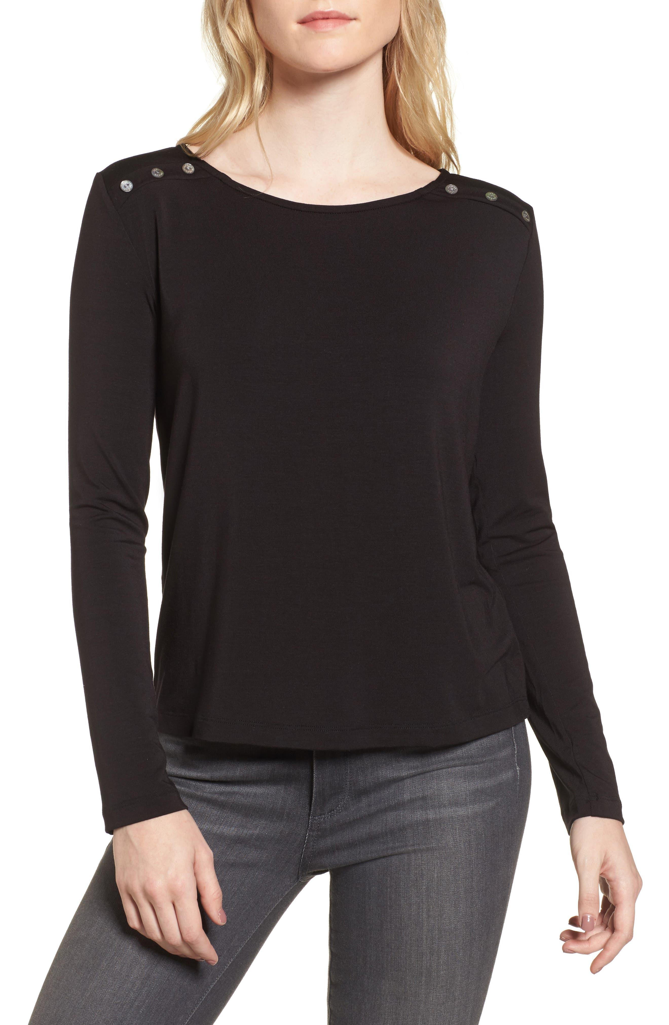 Liana Button Shoulder Tee,                         Main,                         color, 001