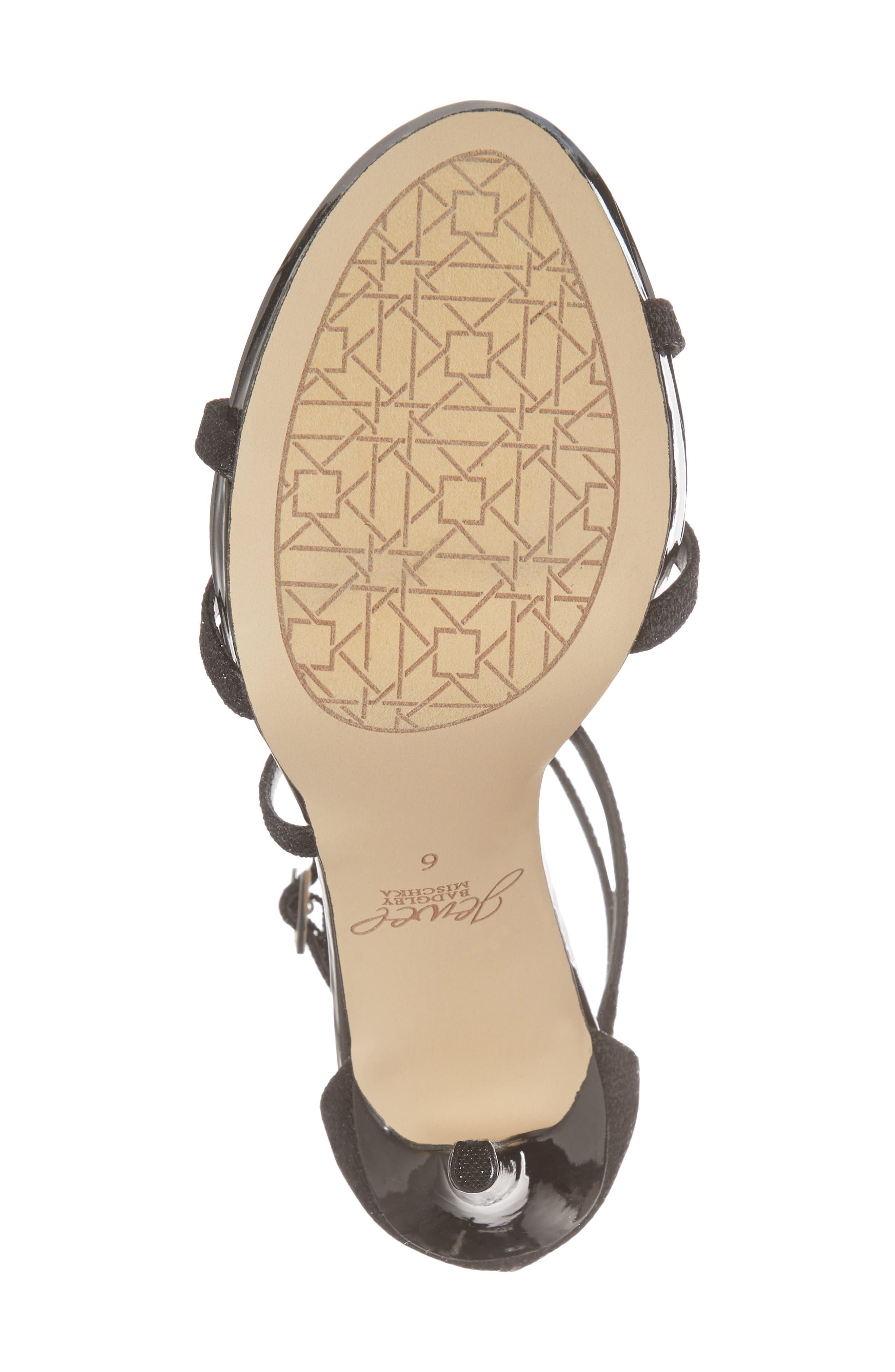 Galen Strappy Platform Sandal,                             Alternate thumbnail 6, color,                             BLACK GLITTER FABRIC
