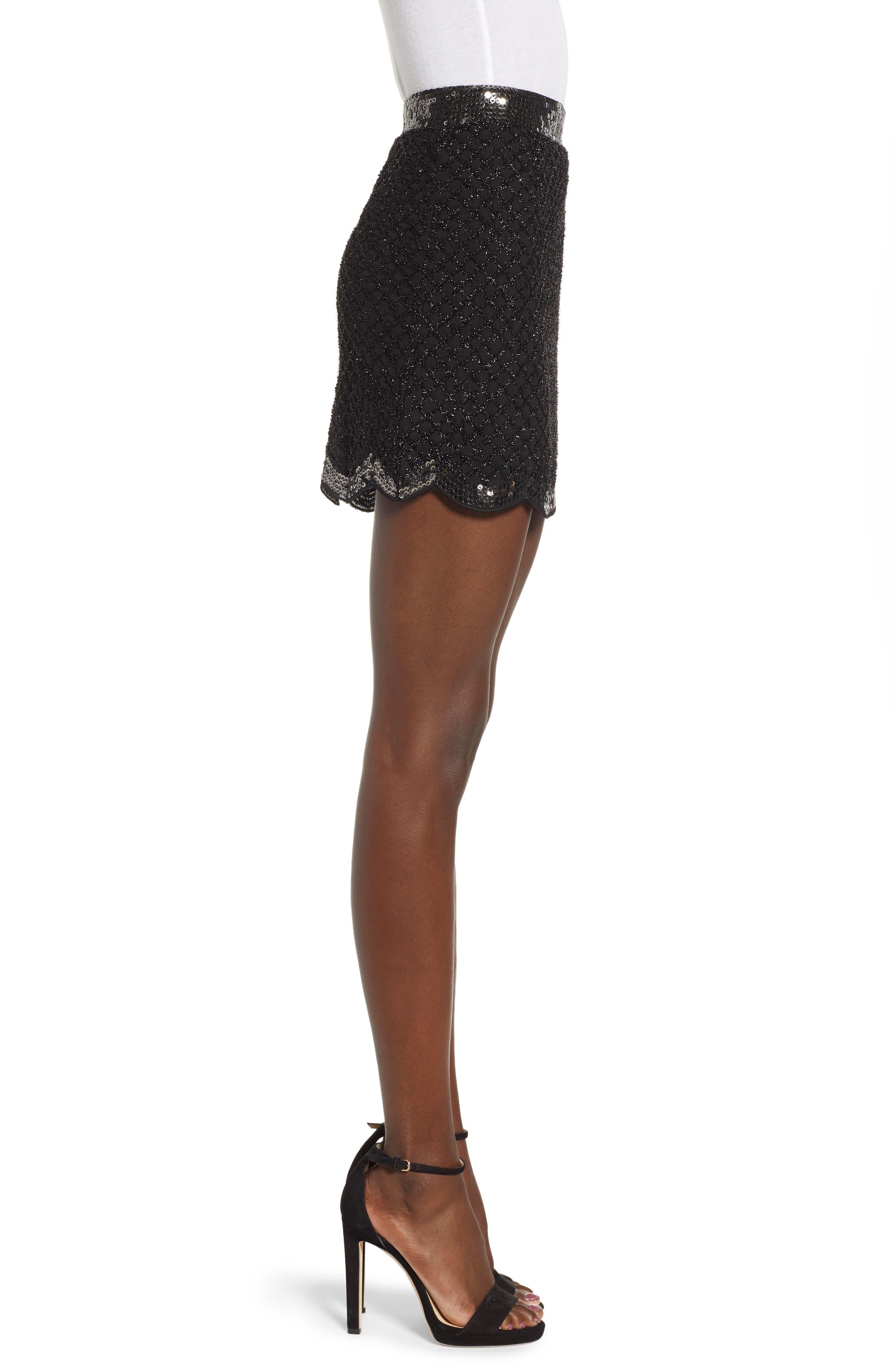 Sequin Scallop Hem Miniskirt,                             Alternate thumbnail 3, color,                             001