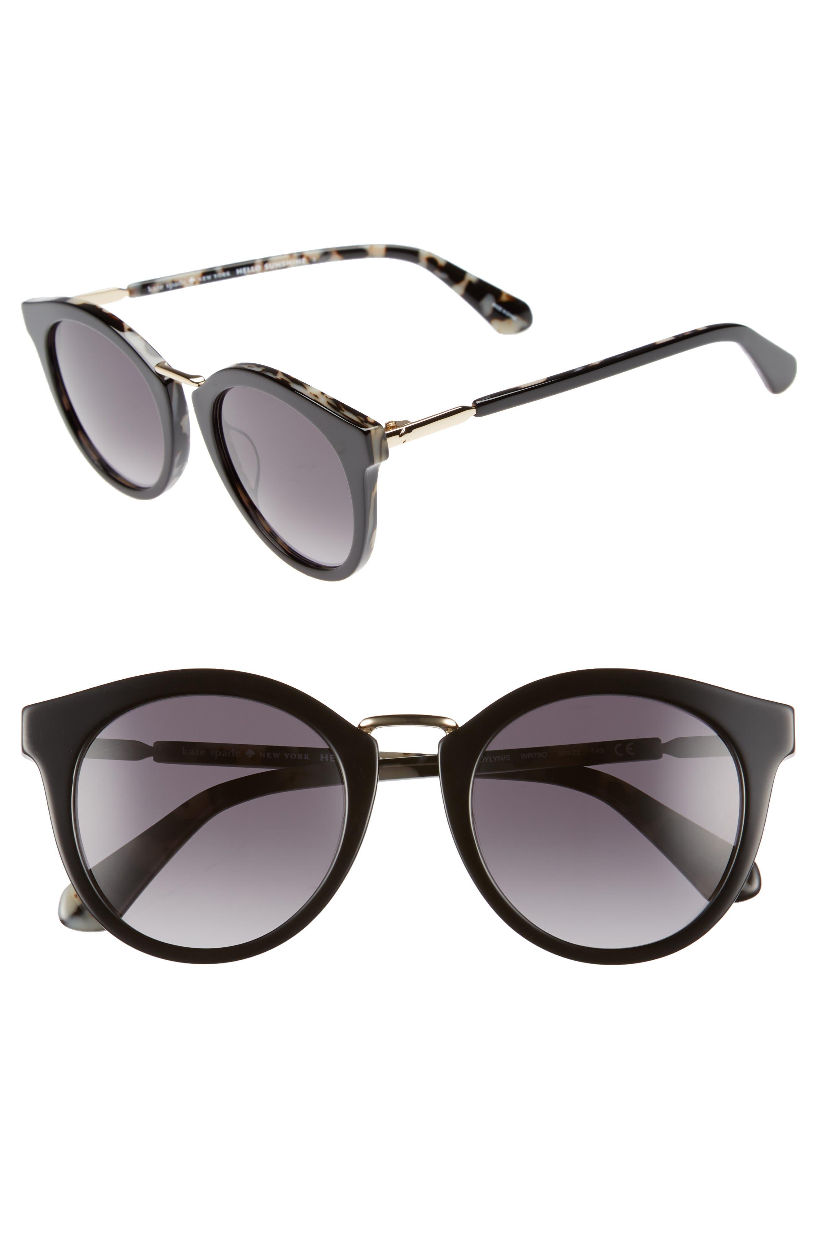 joylyn 50mm round sunglasses,                             Main thumbnail 1, color,                             BLACK HAVANA