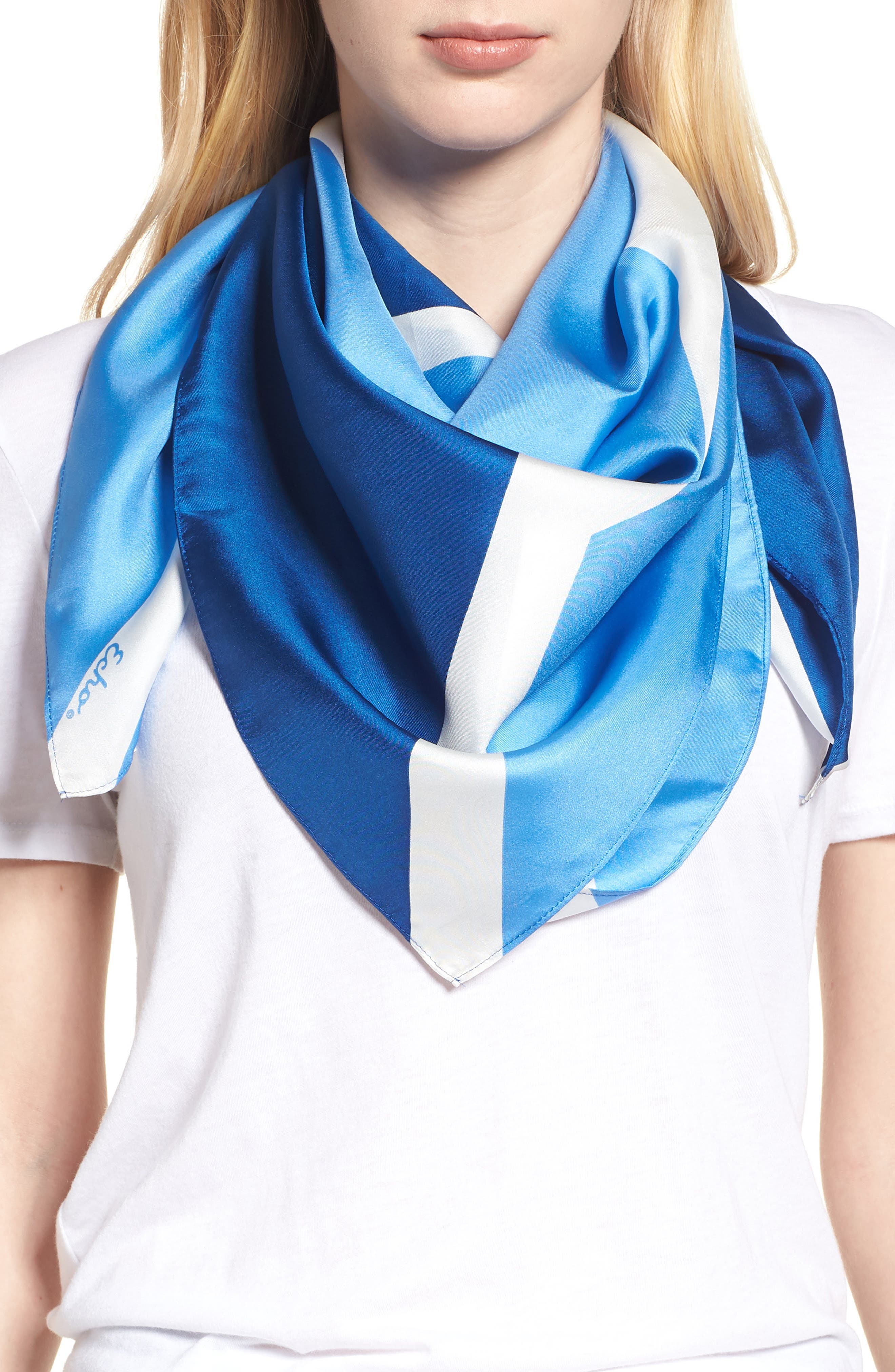 Colorblock Square Silk Scarf,                             Main thumbnail 1, color,                             COASTAL BLUE