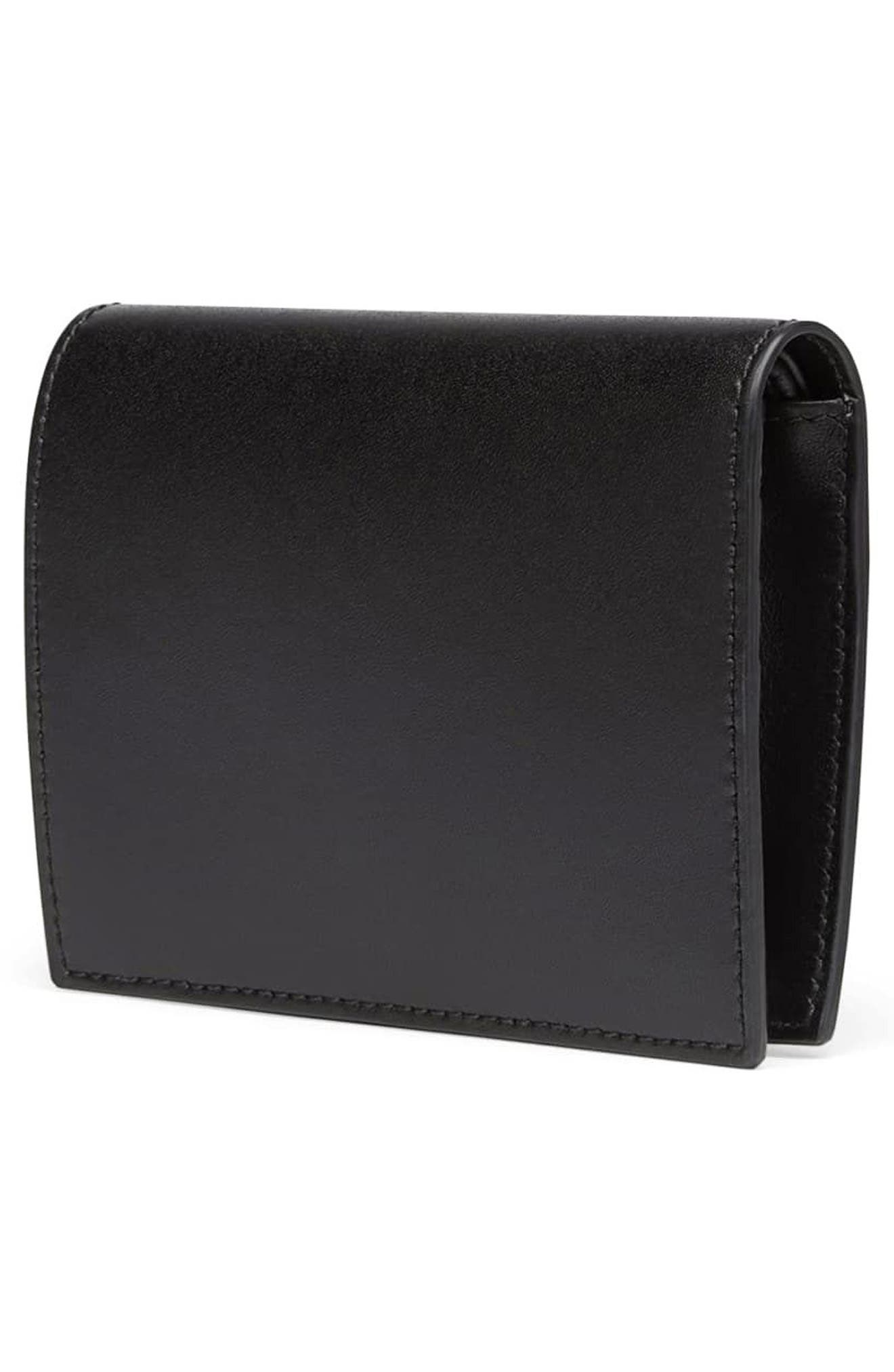 Logo Small Leather French Wallet,                             Alternate thumbnail 3, color,                             NERO/ ORO SOFT