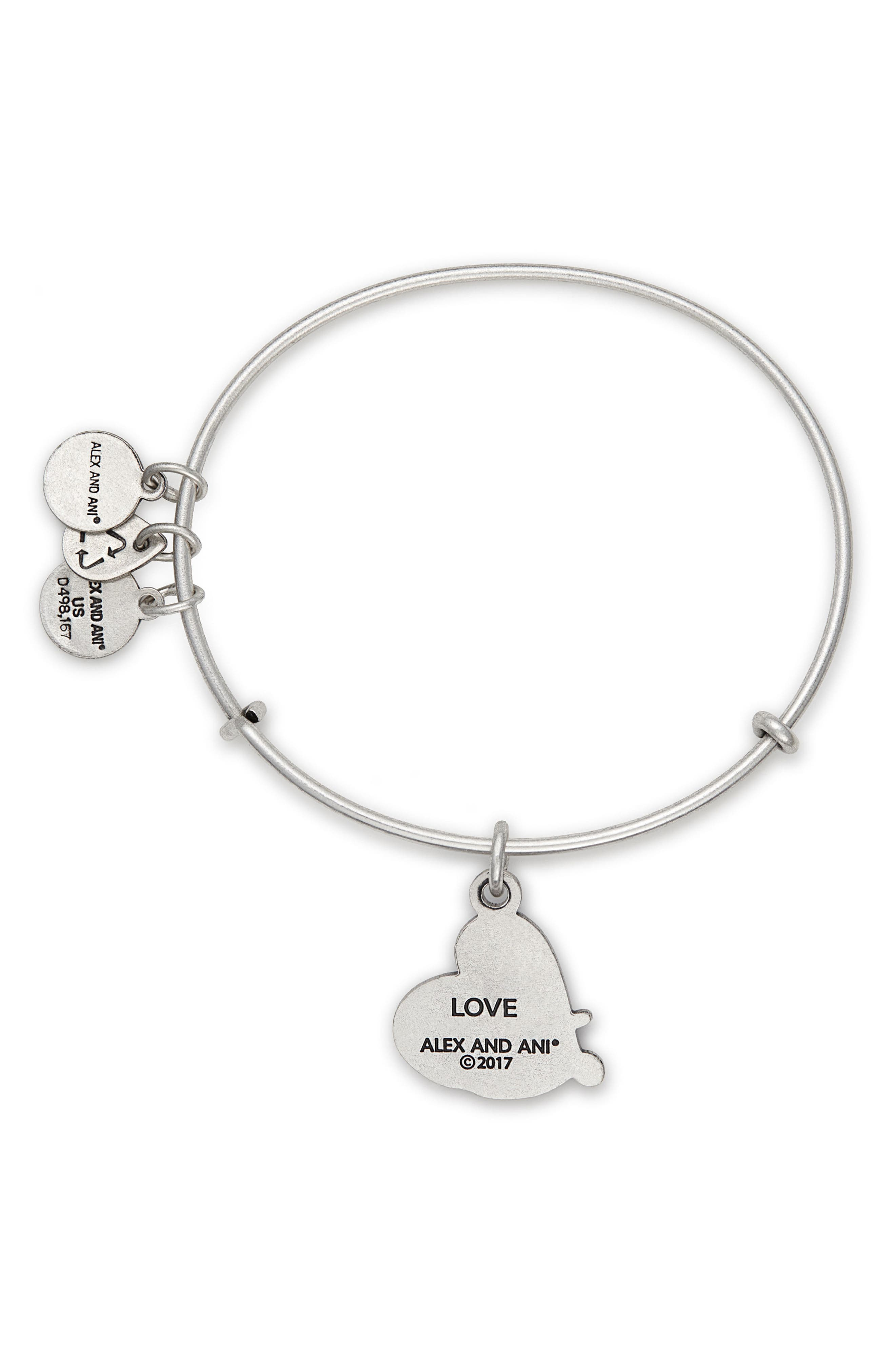 Love Expandable Charm Bracelet,                             Alternate thumbnail 2, color,                             SILVER