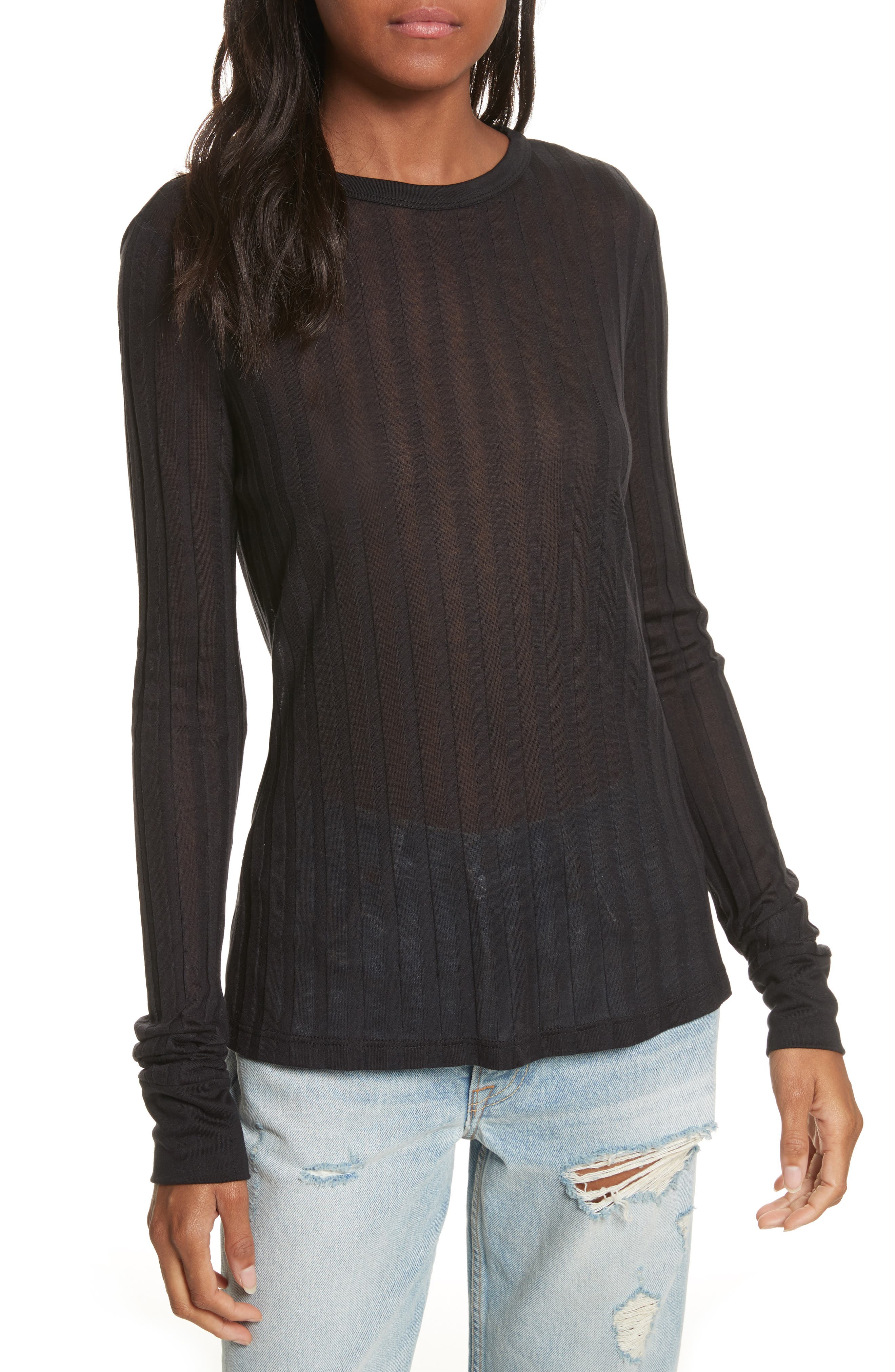 Lookout Ribbed Crewneck Tee,                         Main,                         color, 001
