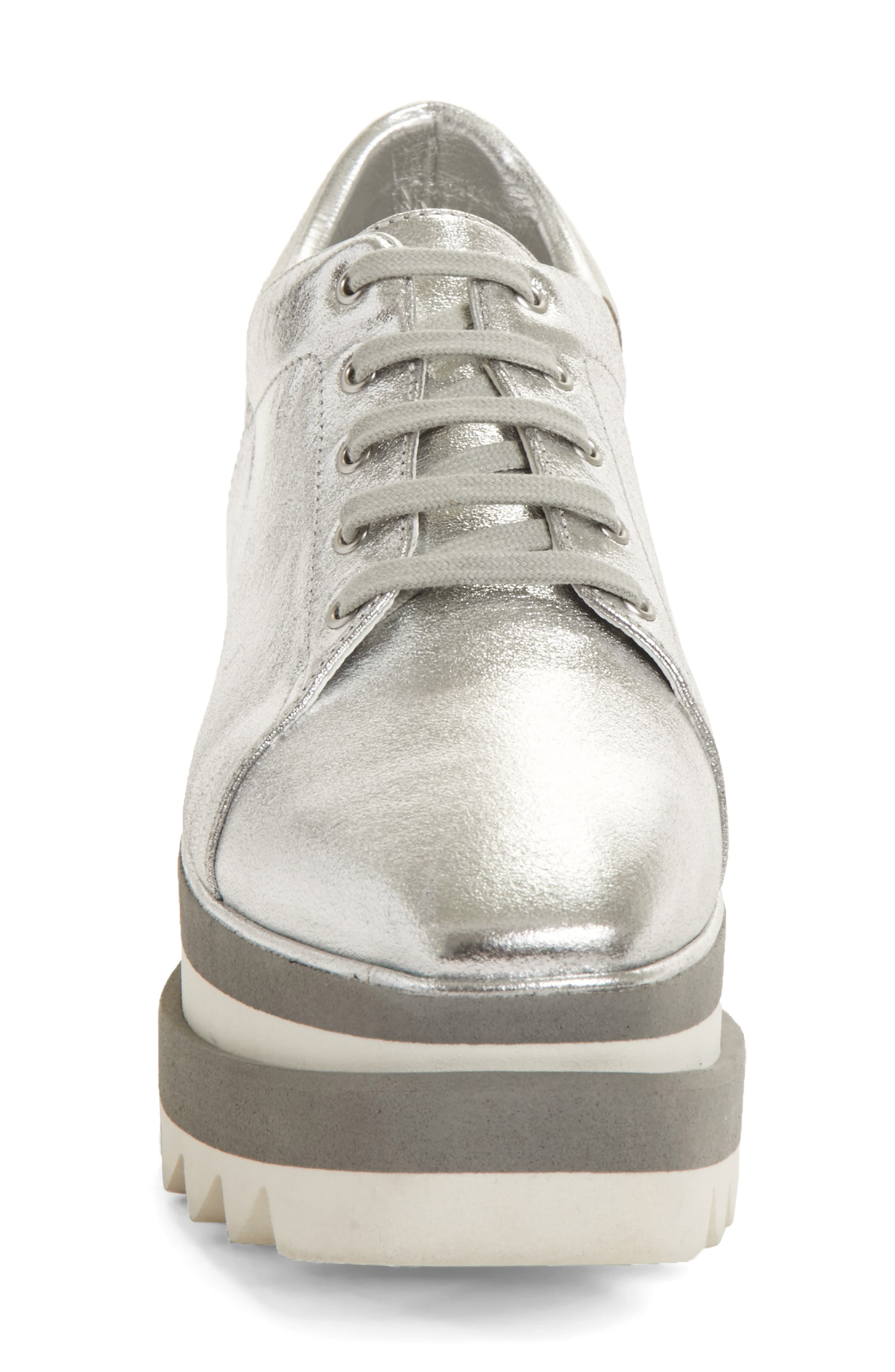Elyse Platform Sneaker,                             Alternate thumbnail 4, color,                             SILVER