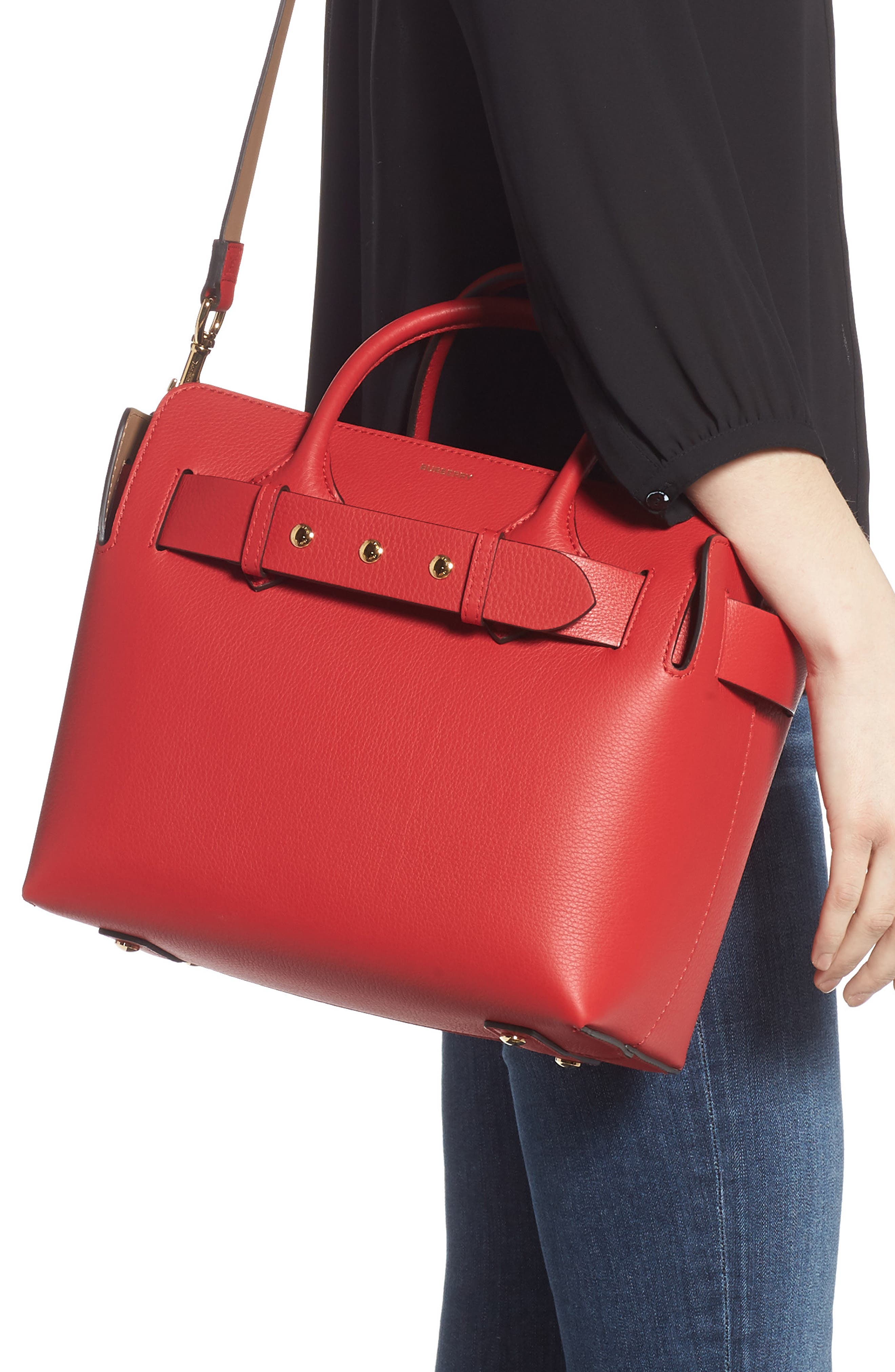 BURBERRY,                             Small Belt Leather Satchel,                             Alternate thumbnail 2, color,                             BRIGHT MILITARY RED