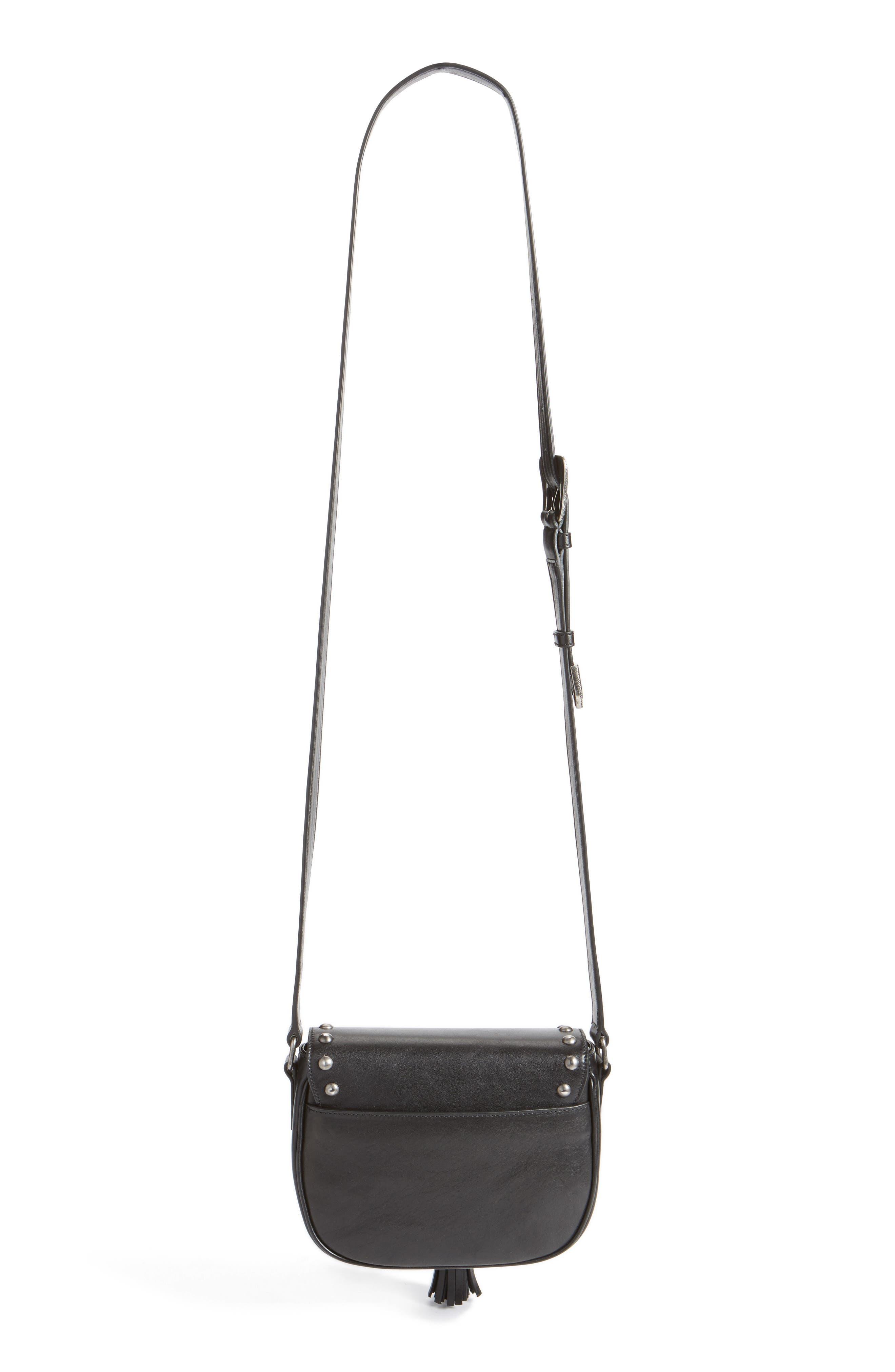 'Small Kim' Calfskin Crossbody Bag,                             Alternate thumbnail 5, color,                             001