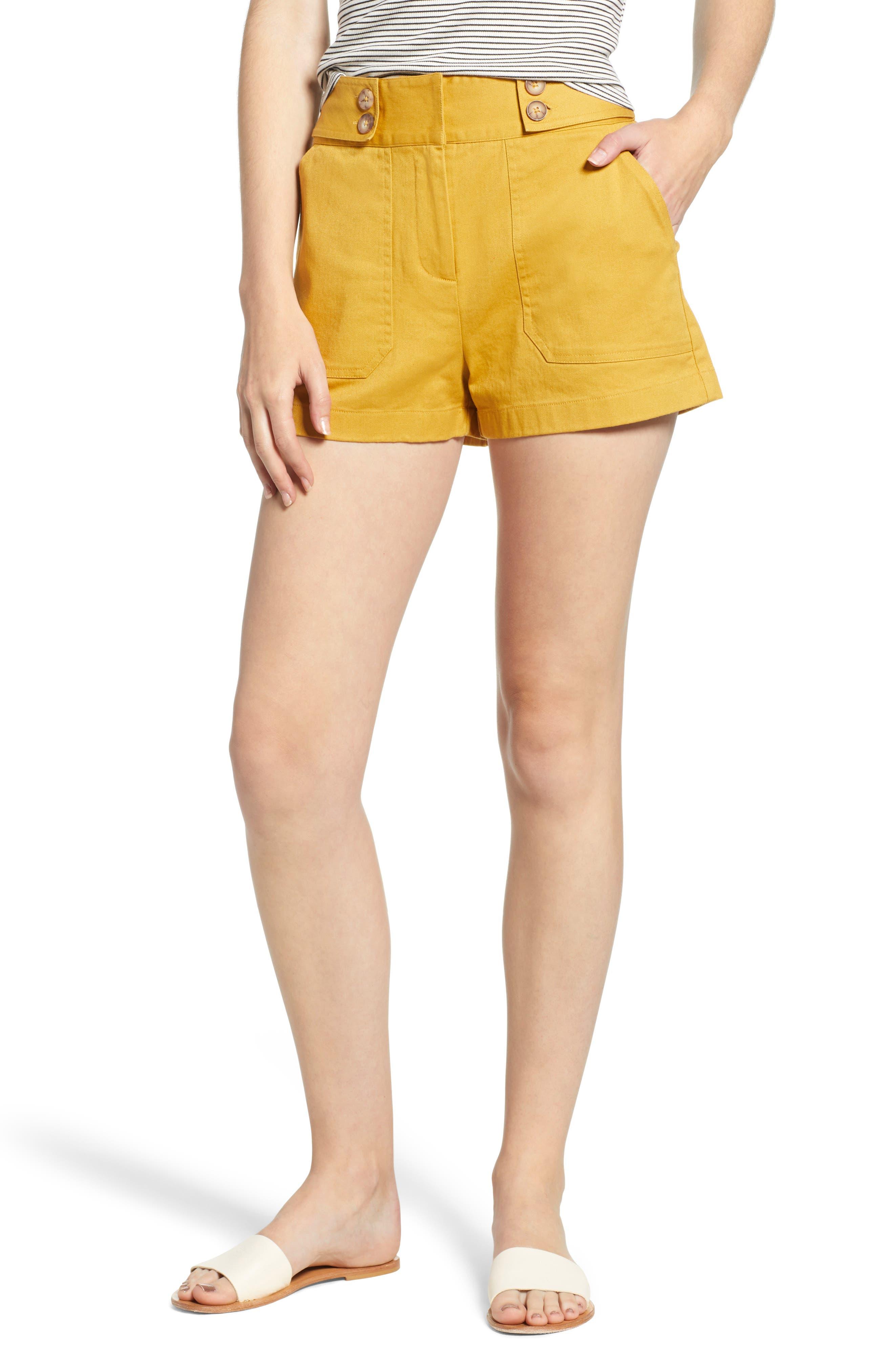 High Waist Sailor Shorts,                         Main,                         color, MUSTARD