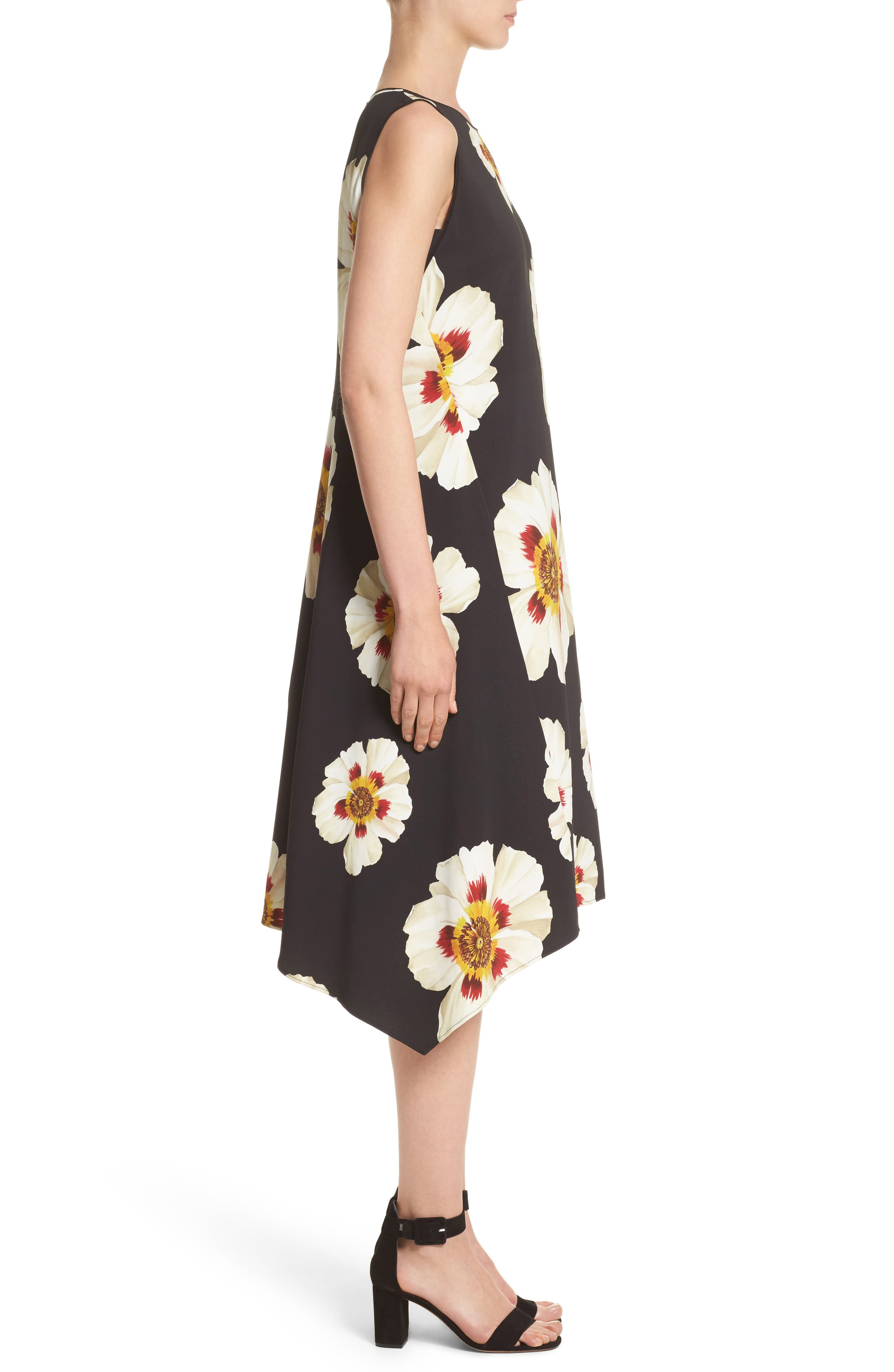 Romona Floral Fluid Cloth Dress,                             Alternate thumbnail 3, color,                             001