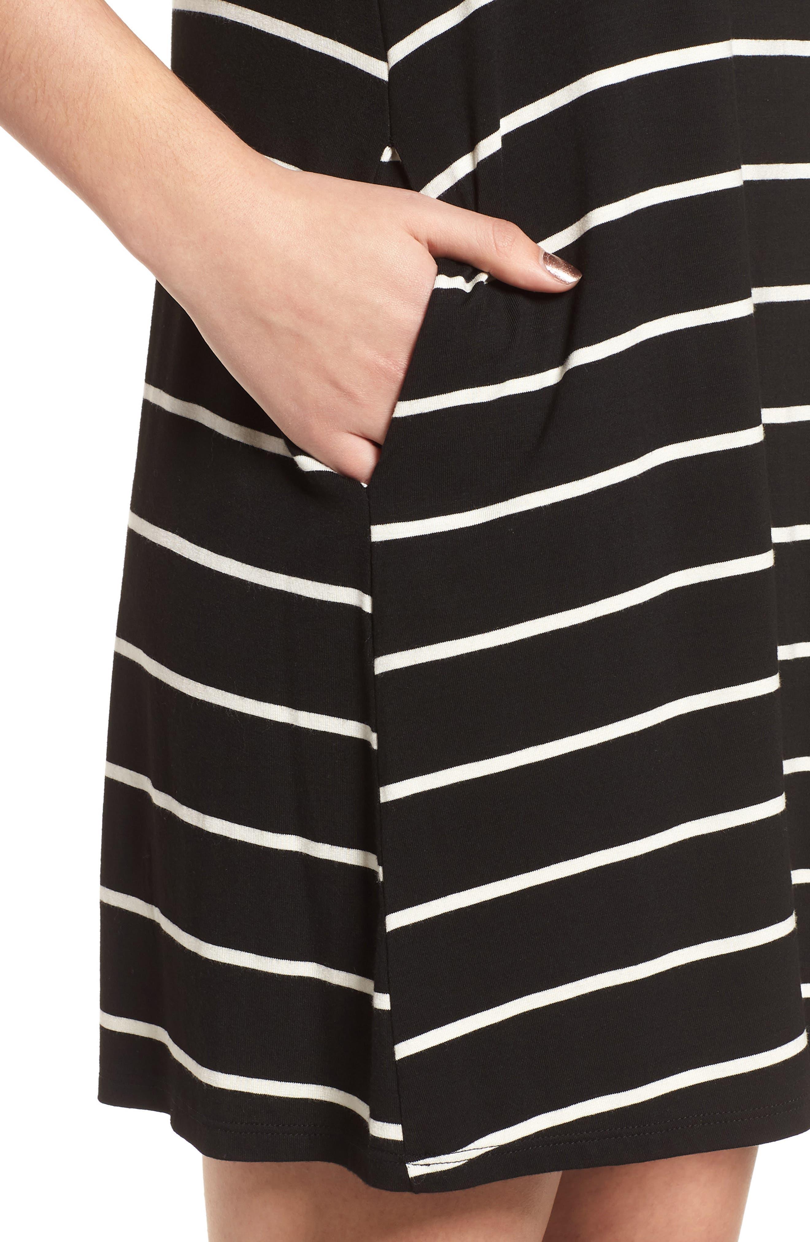 Pocket Tank Dress,                             Alternate thumbnail 4, color,                             BLACK/ WHITE STRIPE
