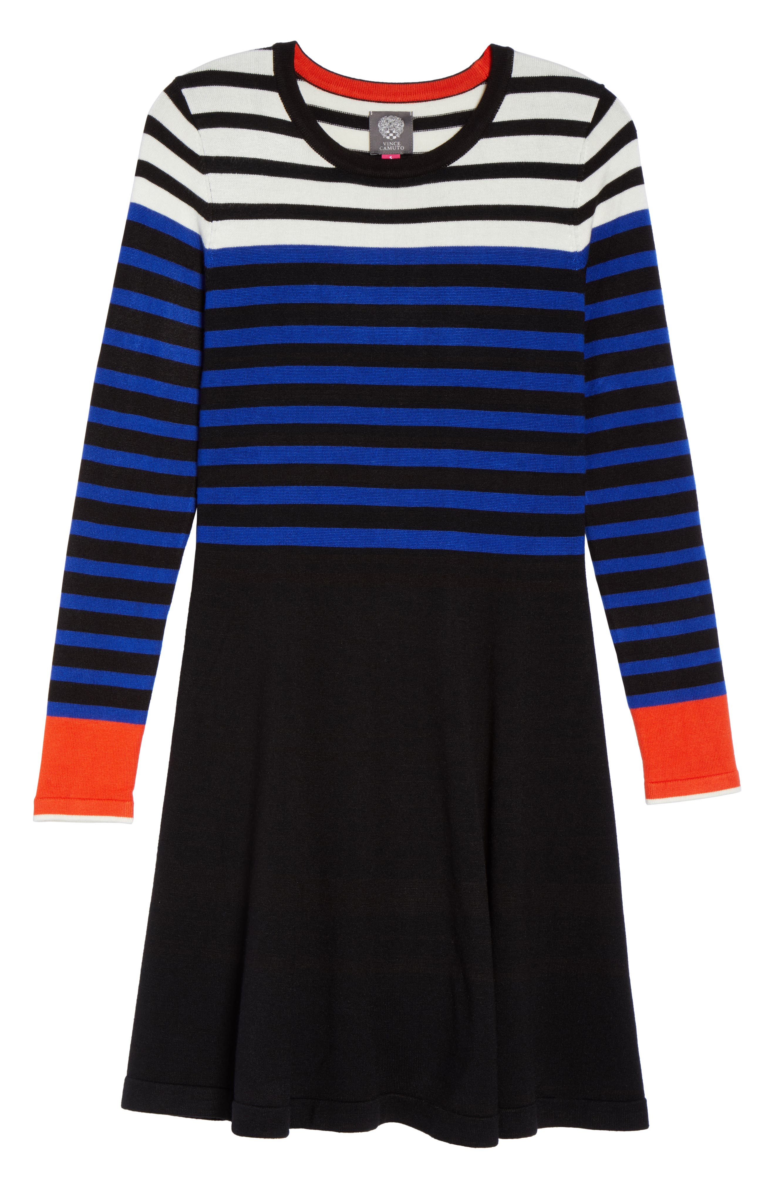 Stripe Sweater Fit & Flare Dress,                             Alternate thumbnail 6, color,                             003