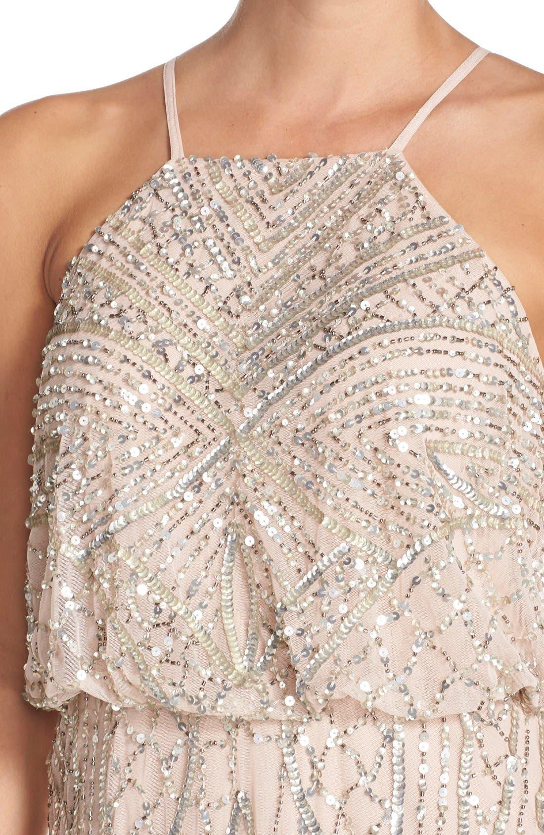 Sequin Chiffon Blouson Gown,                             Alternate thumbnail 2, color,                             684