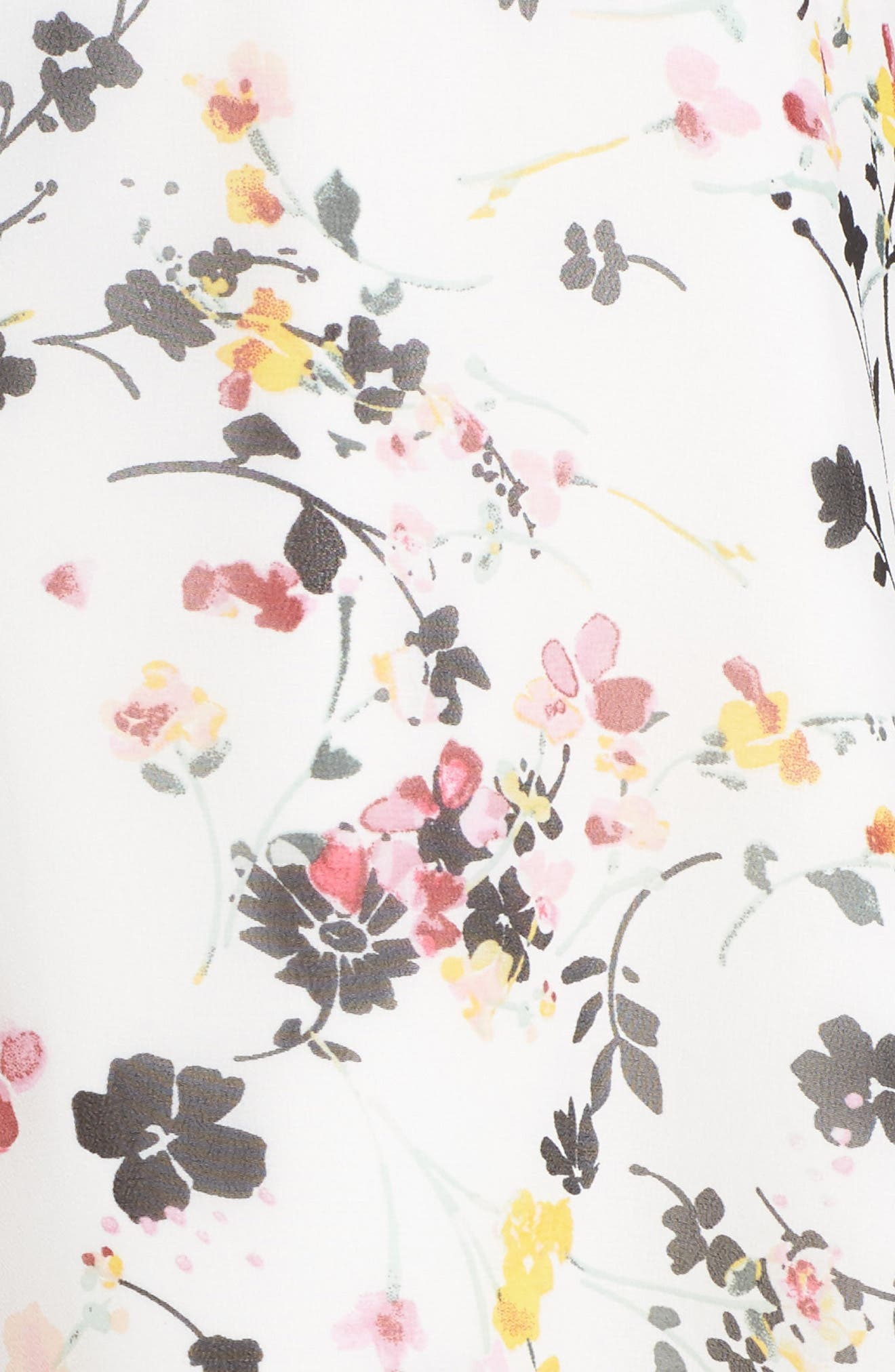Bell Sleeve A-Line Dress,                             Alternate thumbnail 5, color,                             WHITE MULTI