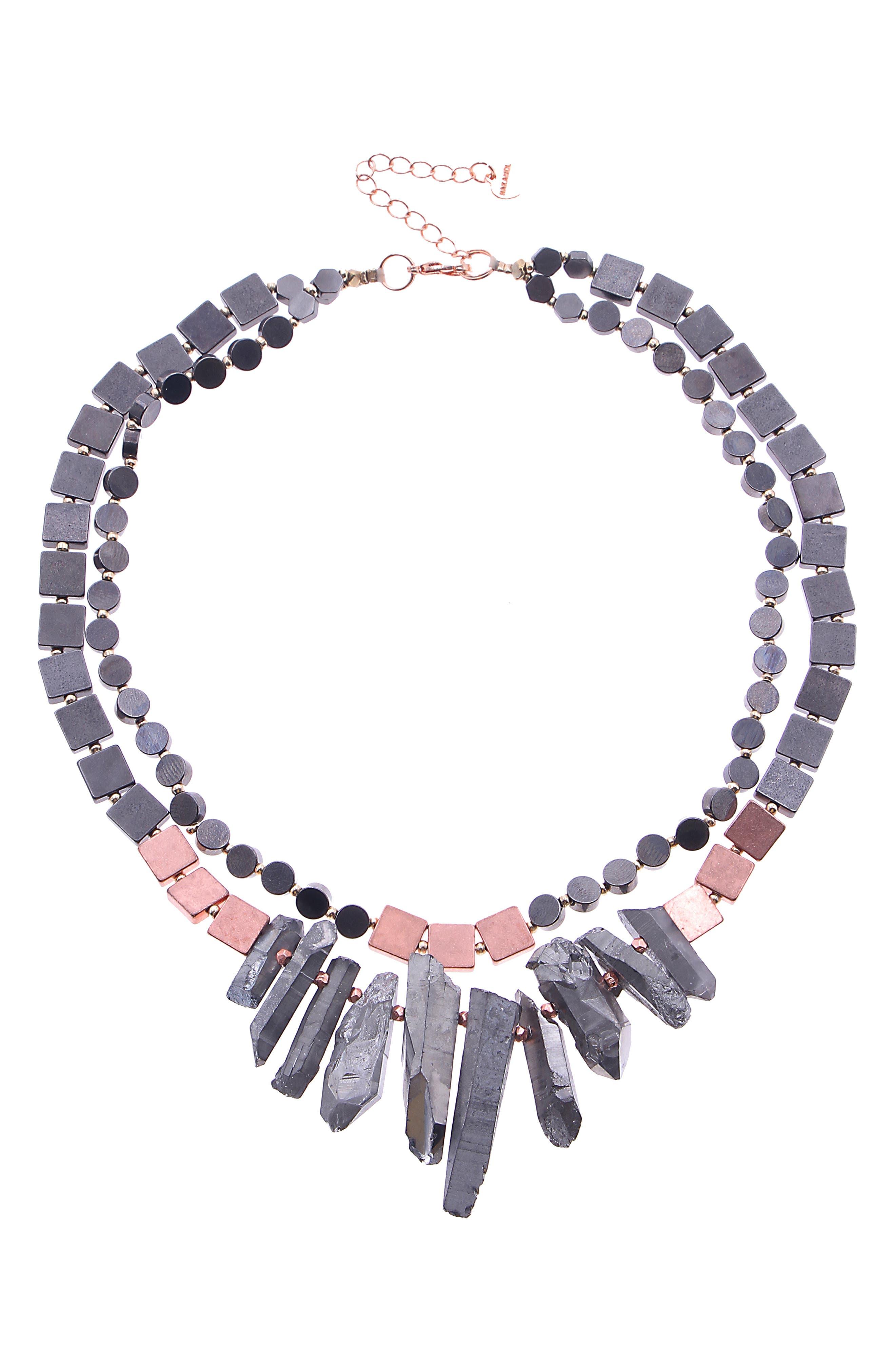 NAKAMOL DESIGN Quartz Crystal Collar Necklace, Main, color, COPPER/ GREY