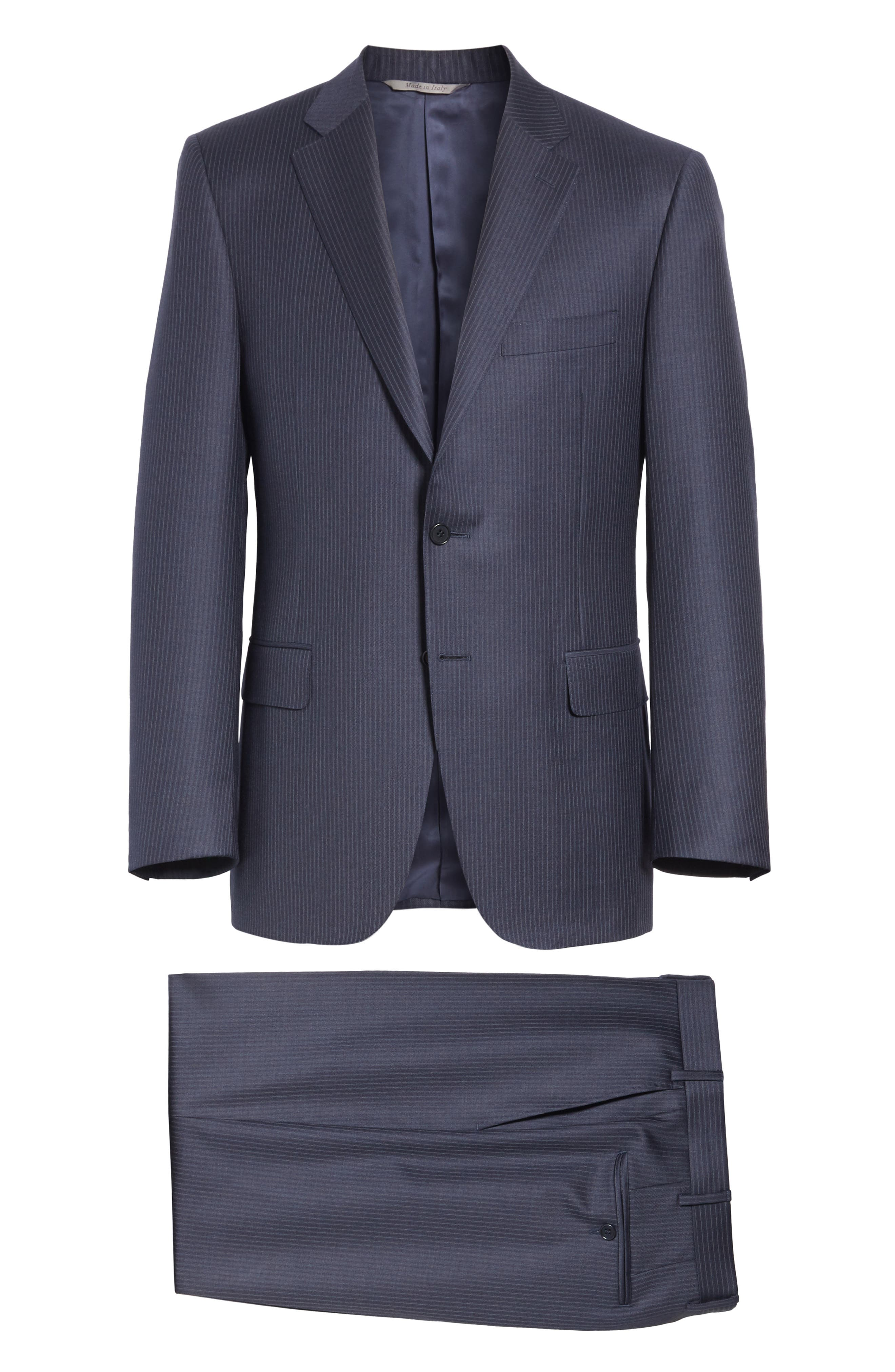 CANALI,                             Classic Fit Pinstripe Wool Suit,                             Alternate thumbnail 8, color,                             410