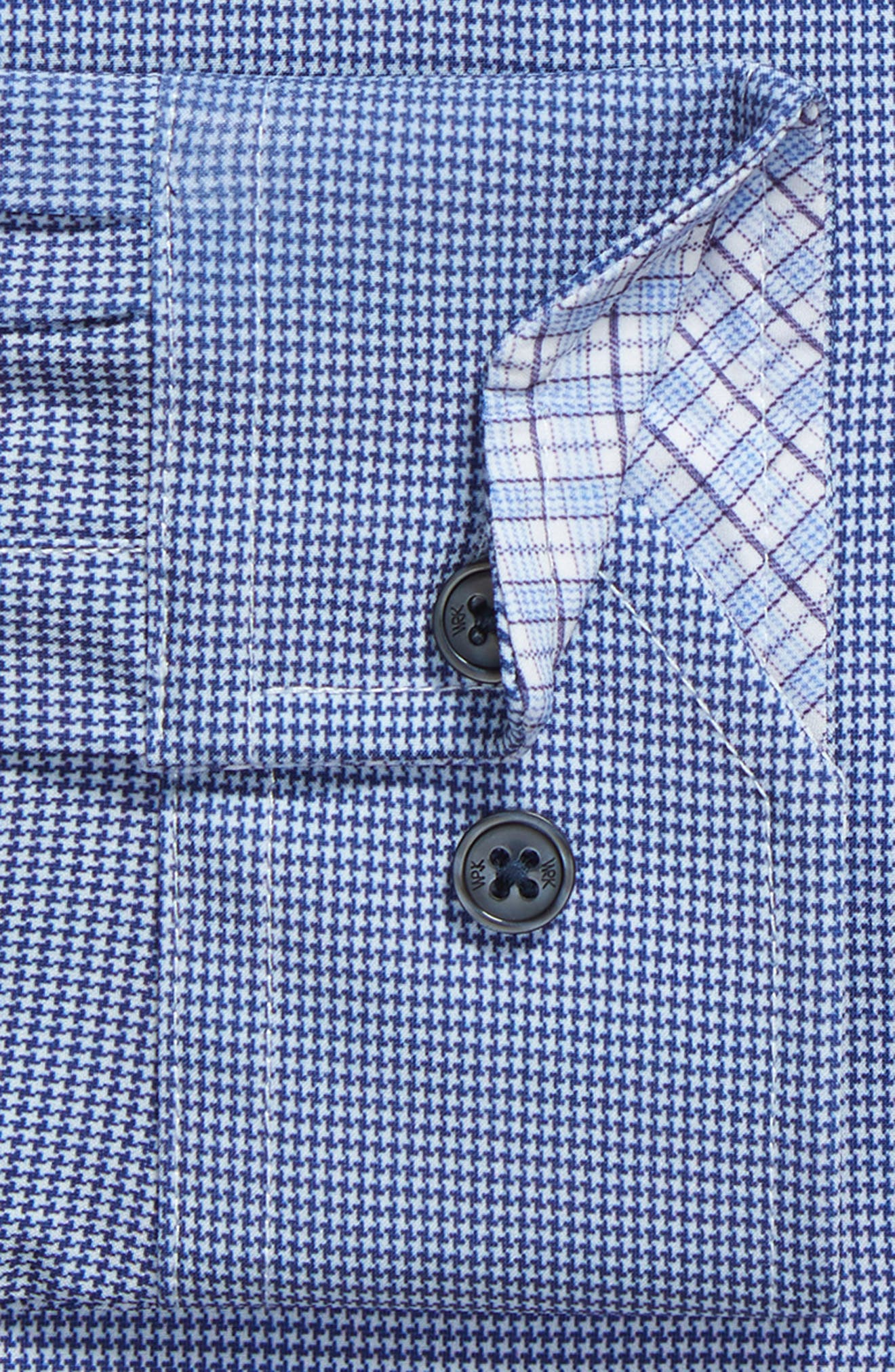 Trim Fit Houndstooth 4-Way Stretch Dress Shirt,                             Alternate thumbnail 6, color,                             NAVY
