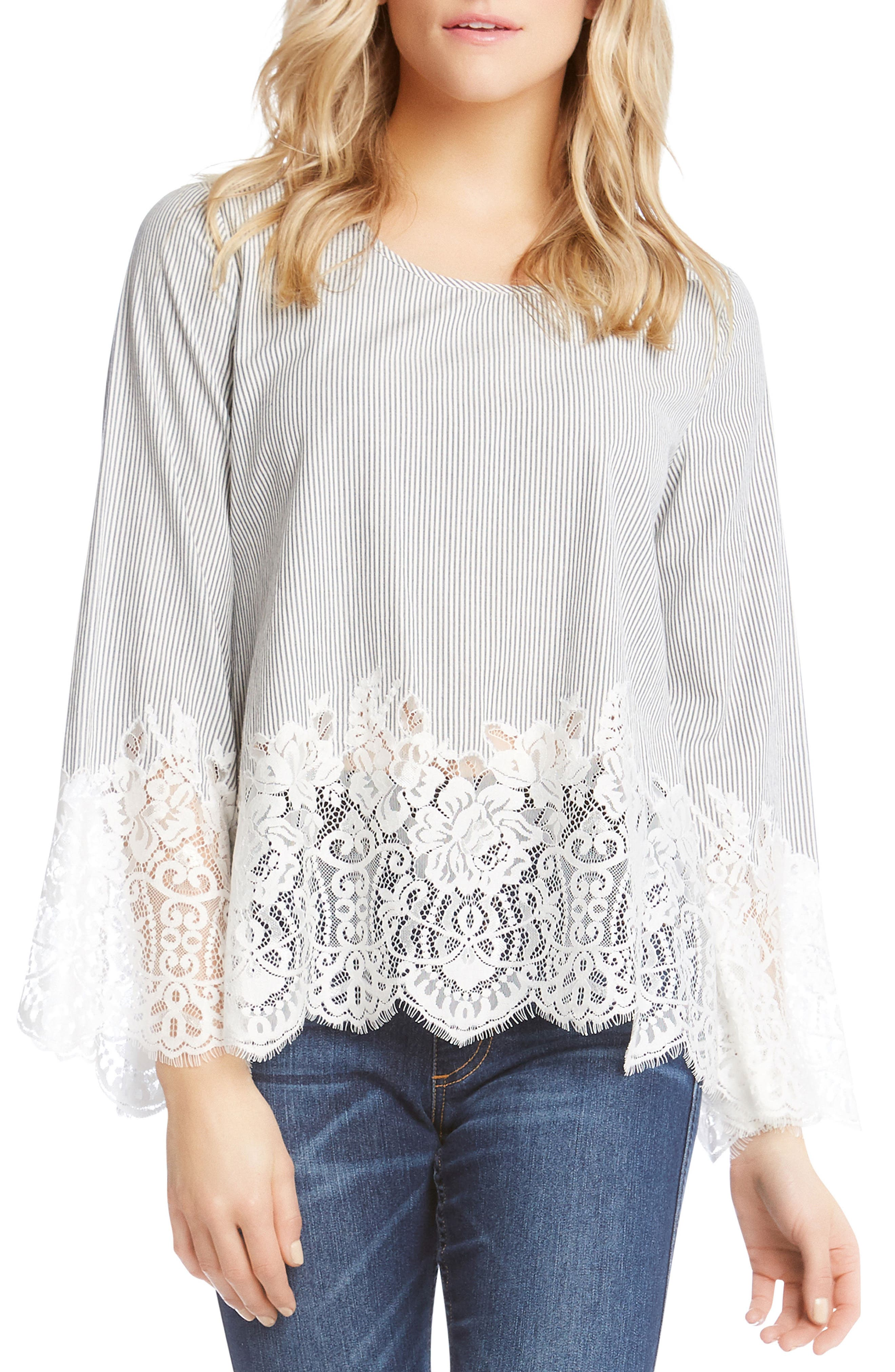 Lace Border Pinstripe Top,                         Main,                         color, 489