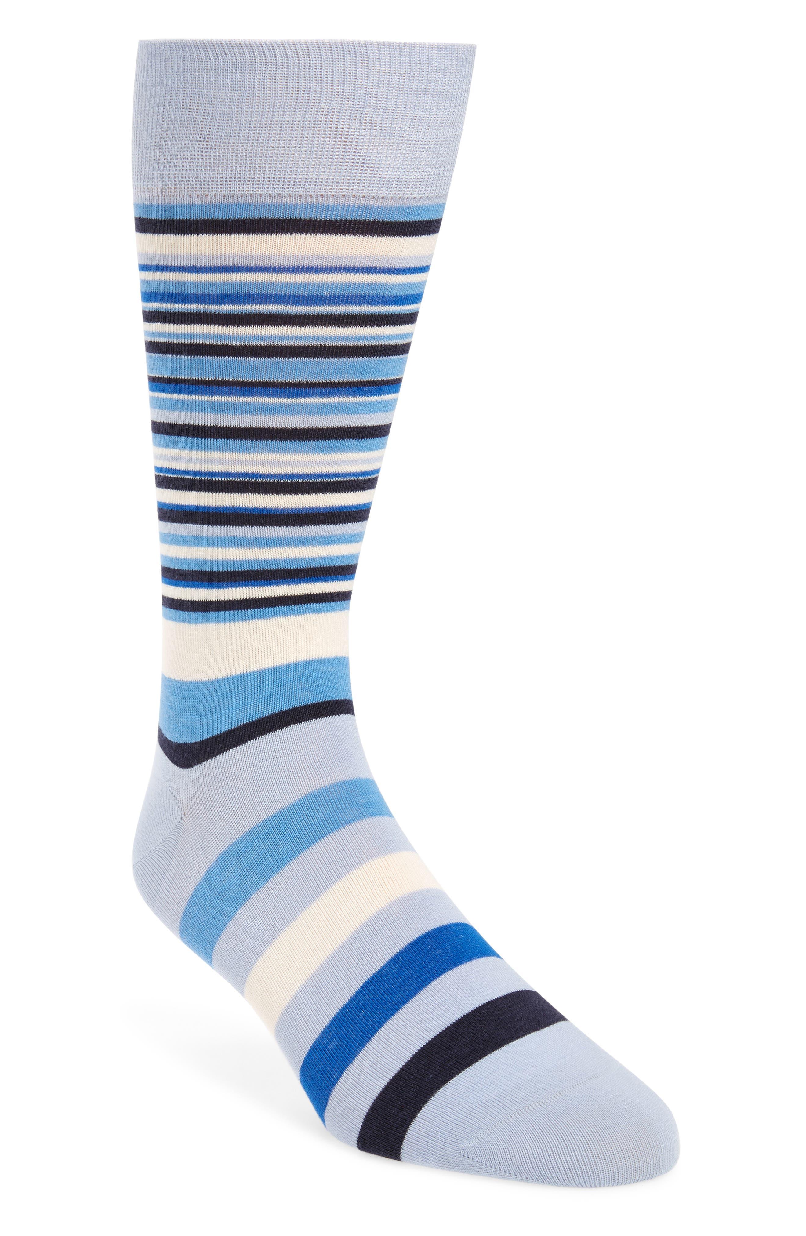 COLE HAAN Town Stripe Crew Socks, Main, color, ZEN BLUE