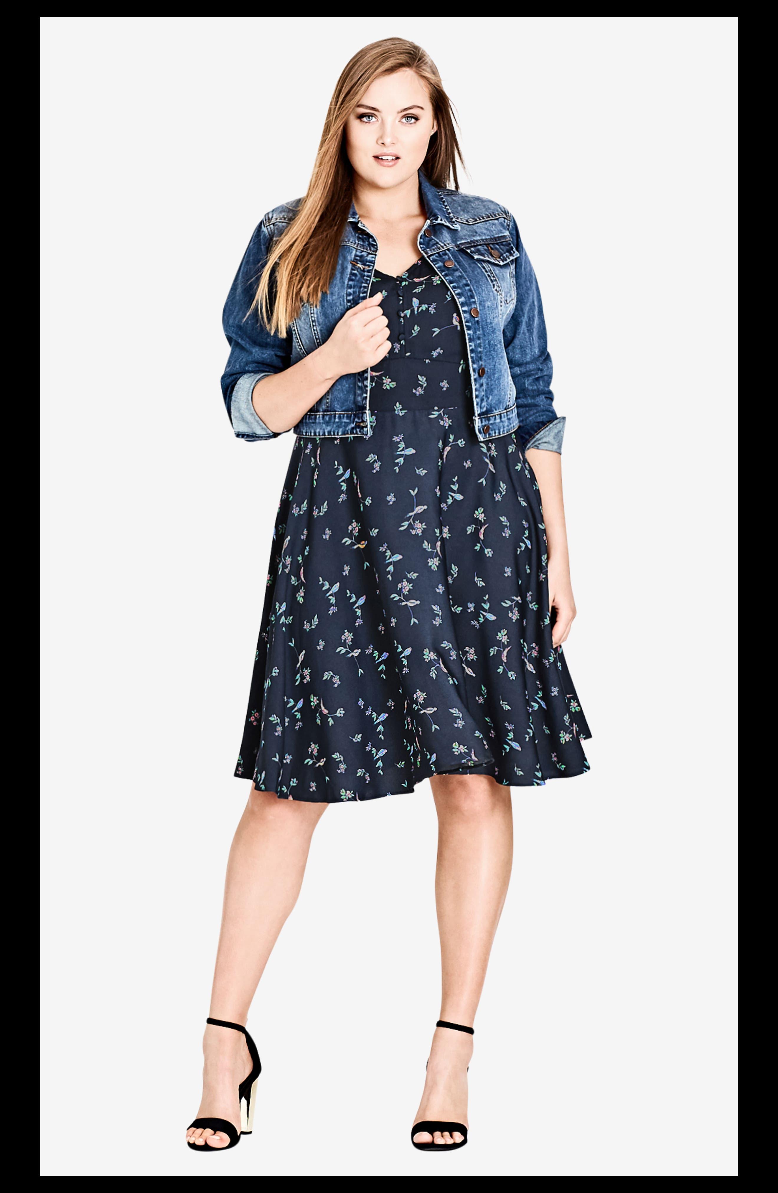 Sweet Tweet Fit & Flare Dress,                             Alternate thumbnail 4, color,                             SWEET TWEET