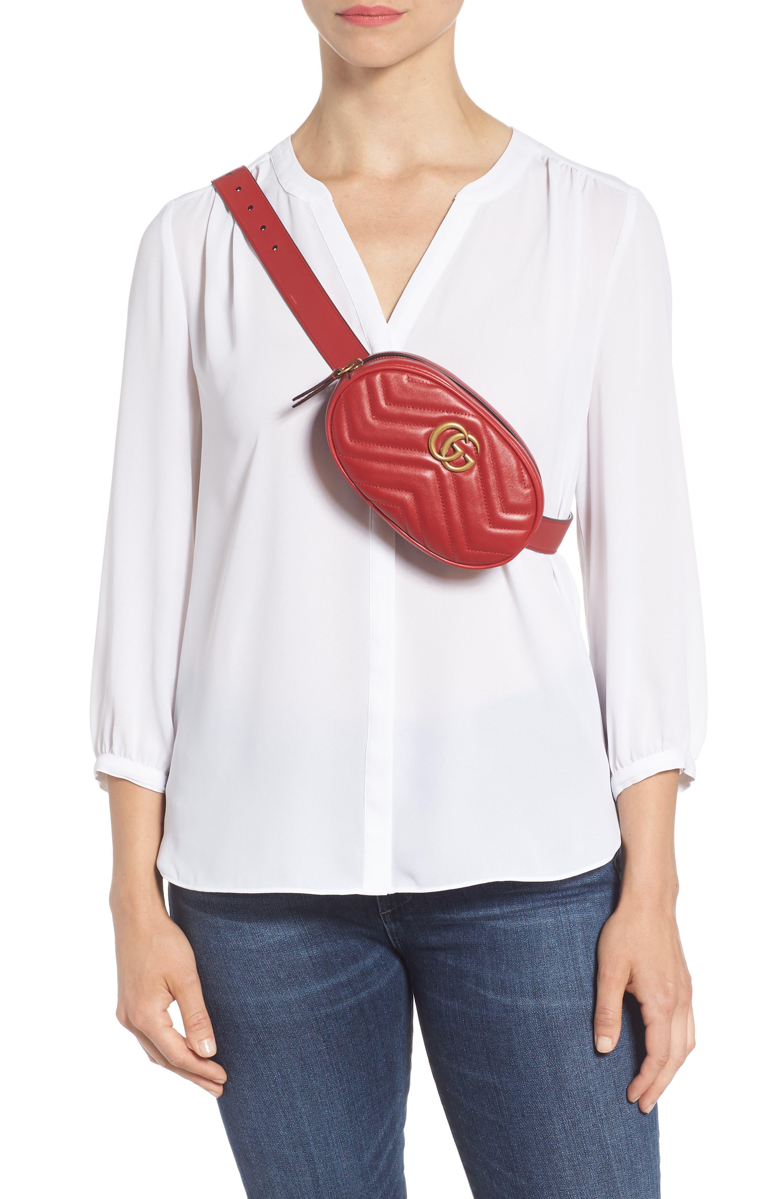GG Marmont Matelassé Leather Belt Bag,                             Alternate thumbnail 3, color,                             625