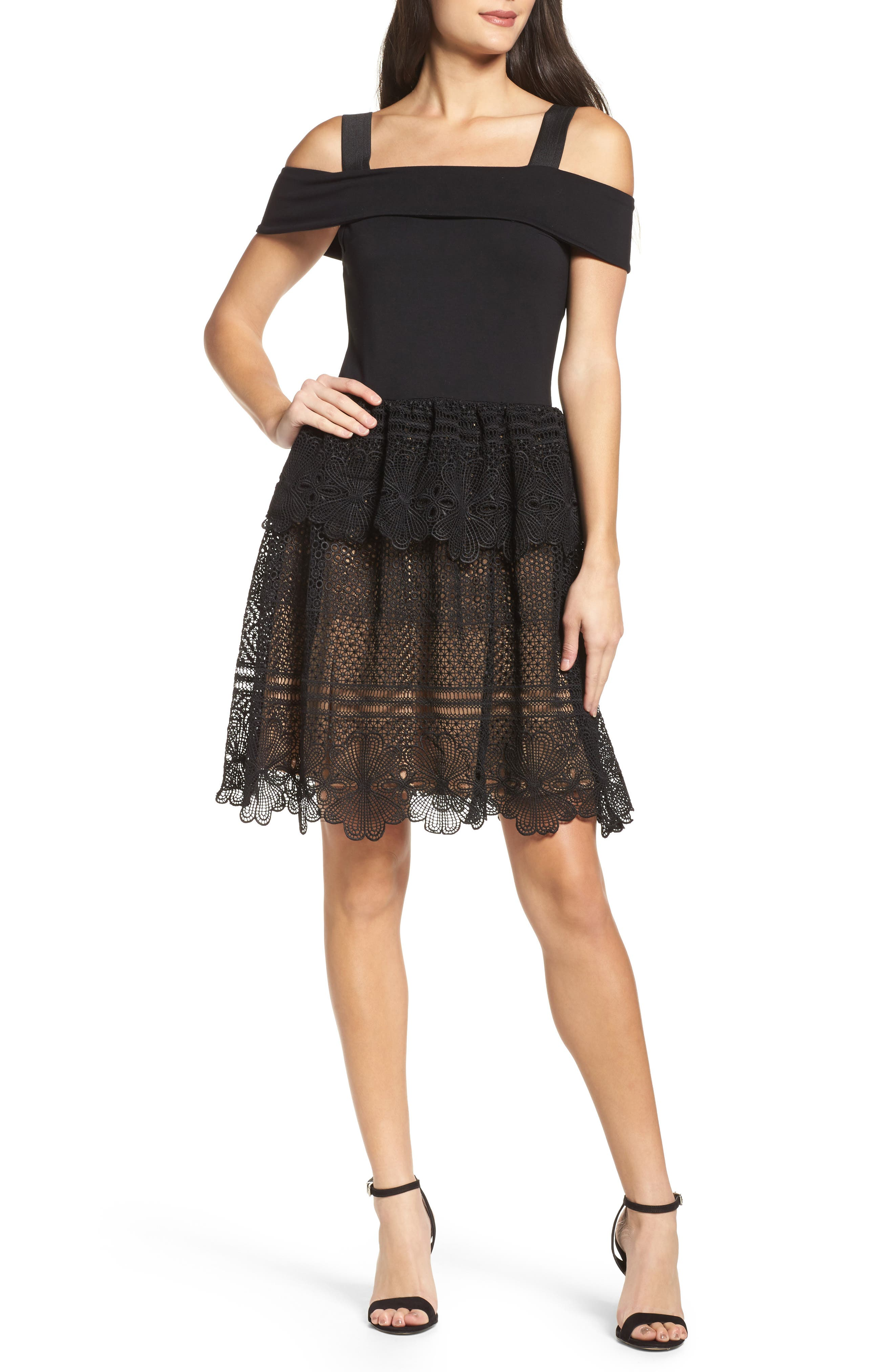 Amelia Lace A-Line Dress,                             Main thumbnail 1, color,                             001