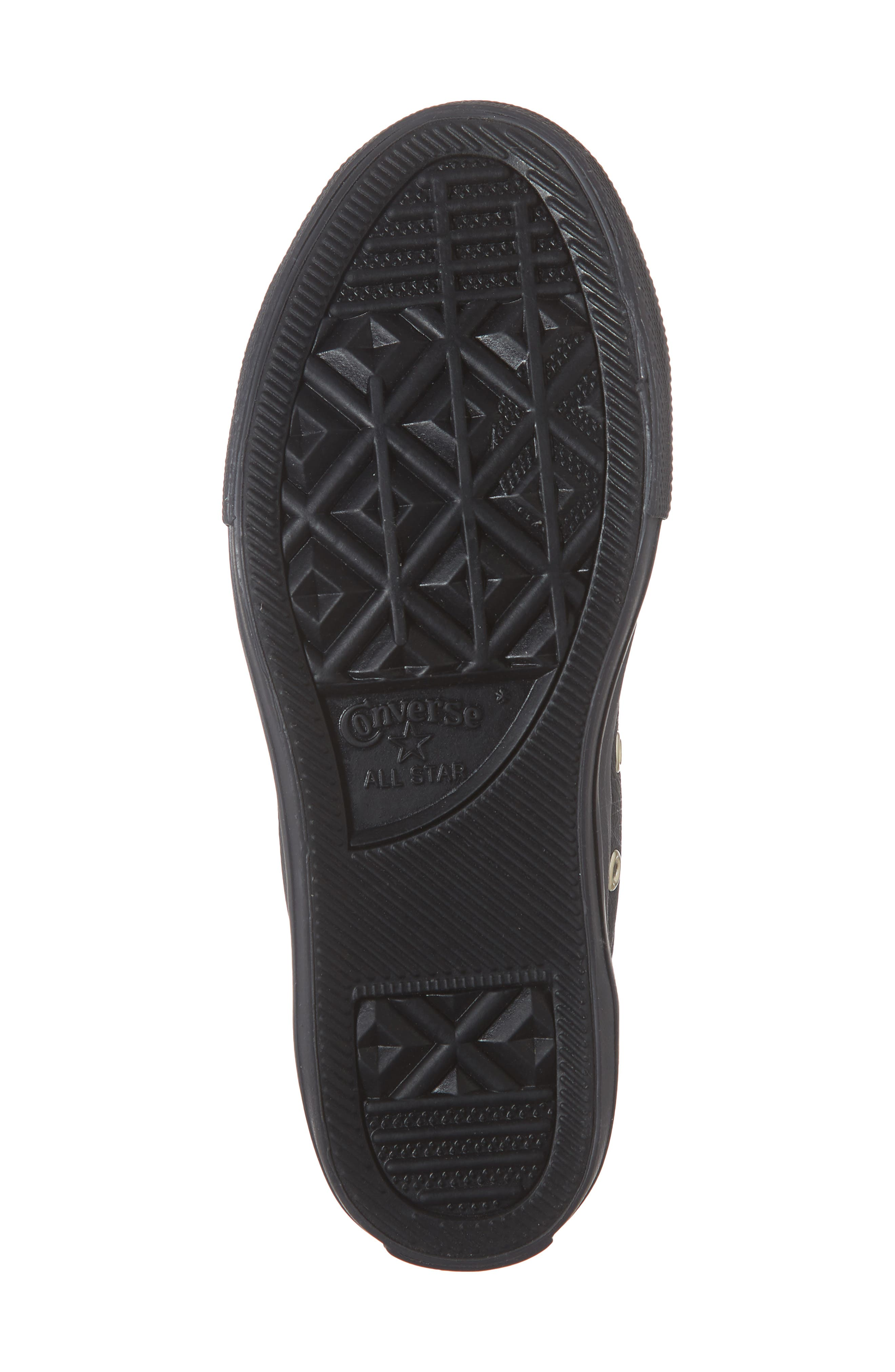 Chuck Taylor<sup>®</sup> All Star<sup>®</sup> Big Eyelet Leather Sneaker,                             Alternate thumbnail 6, color,                             BLACK