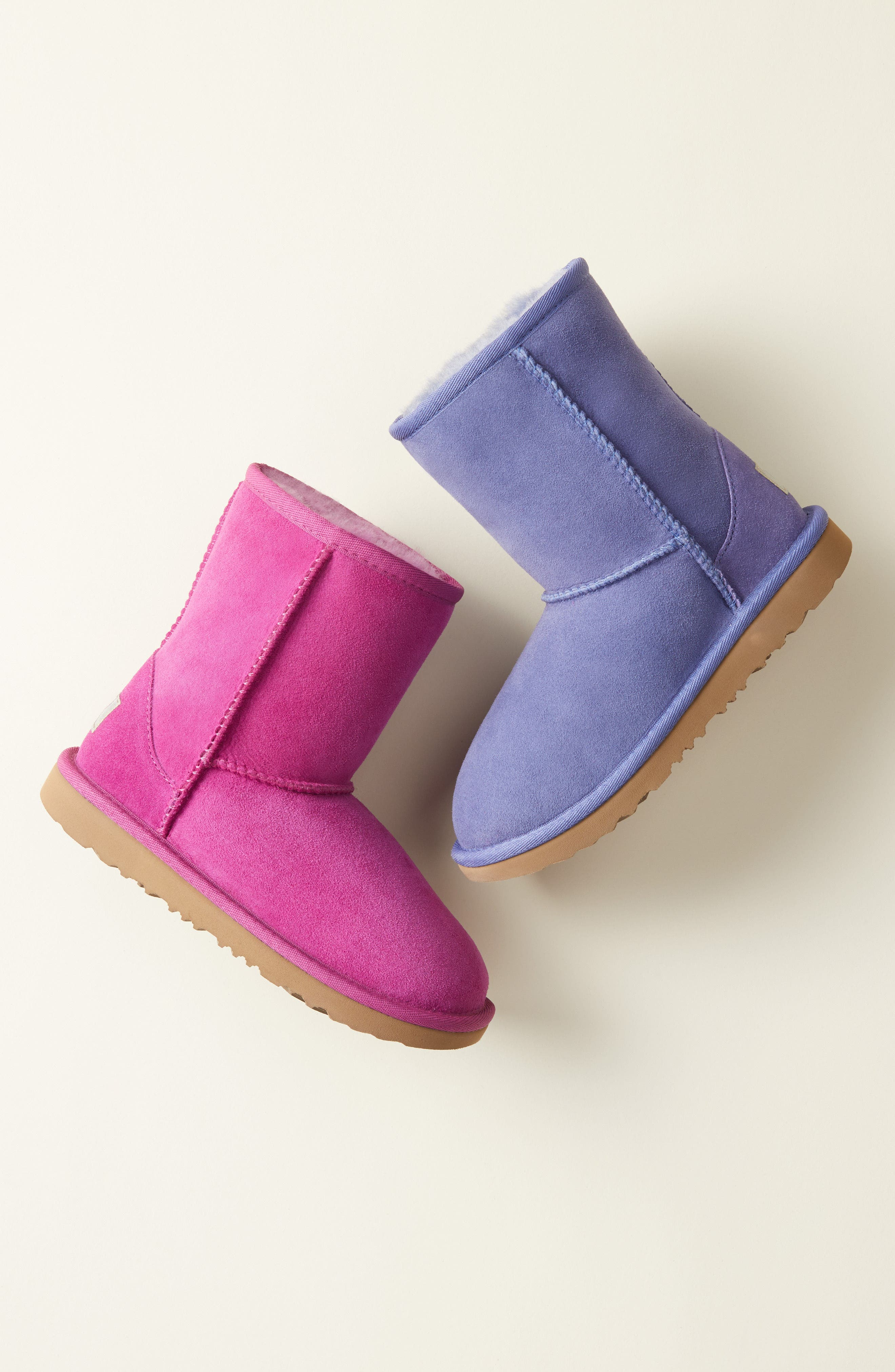 Classic Short II Water Resistant Genuine Shearling Boot,                             Alternate thumbnail 7, color,                             PINK DAWN