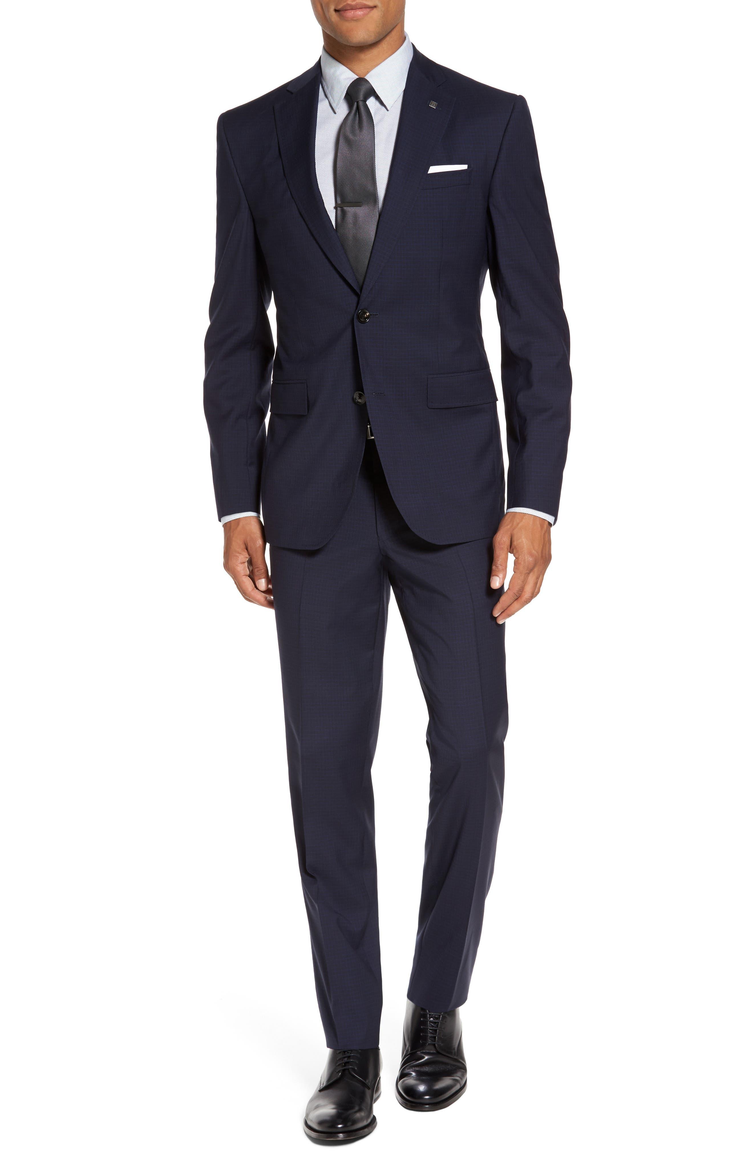 Roger Trim Fit Check Wool Suit,                             Main thumbnail 1, color,                             410
