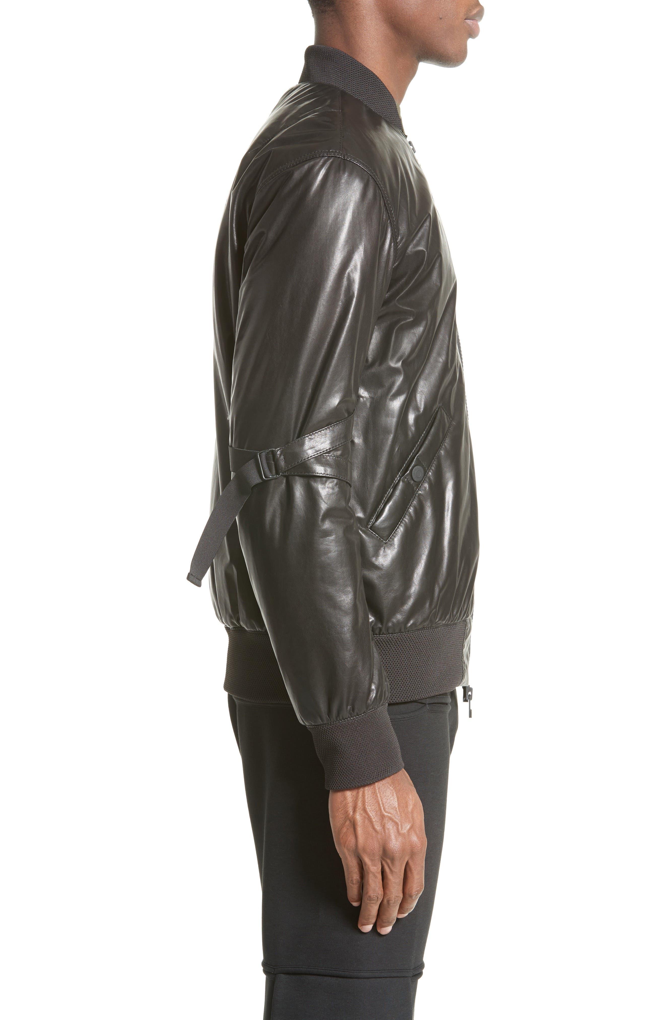 Leather Bomber Jacket,                             Alternate thumbnail 3, color,                             BLACK
