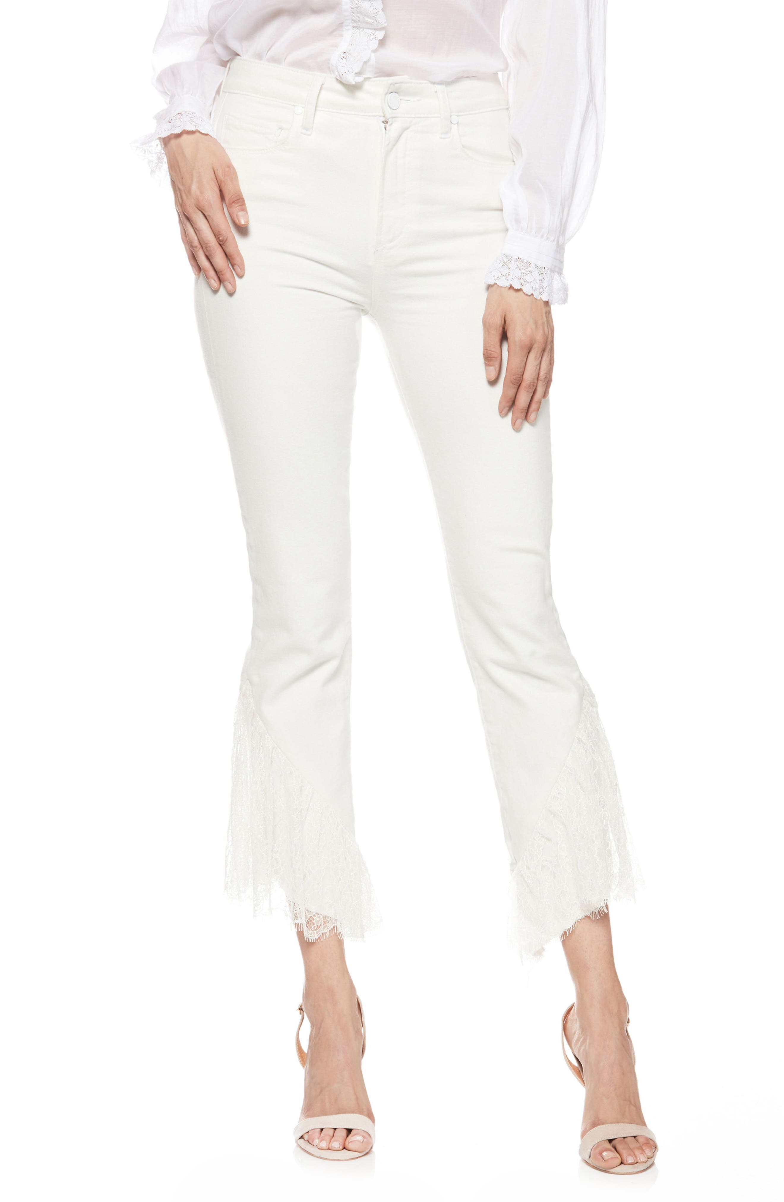 Hoxton Lace Hem High Waist Ankle Straight Leg Jeans,                         Main,                         color, 100