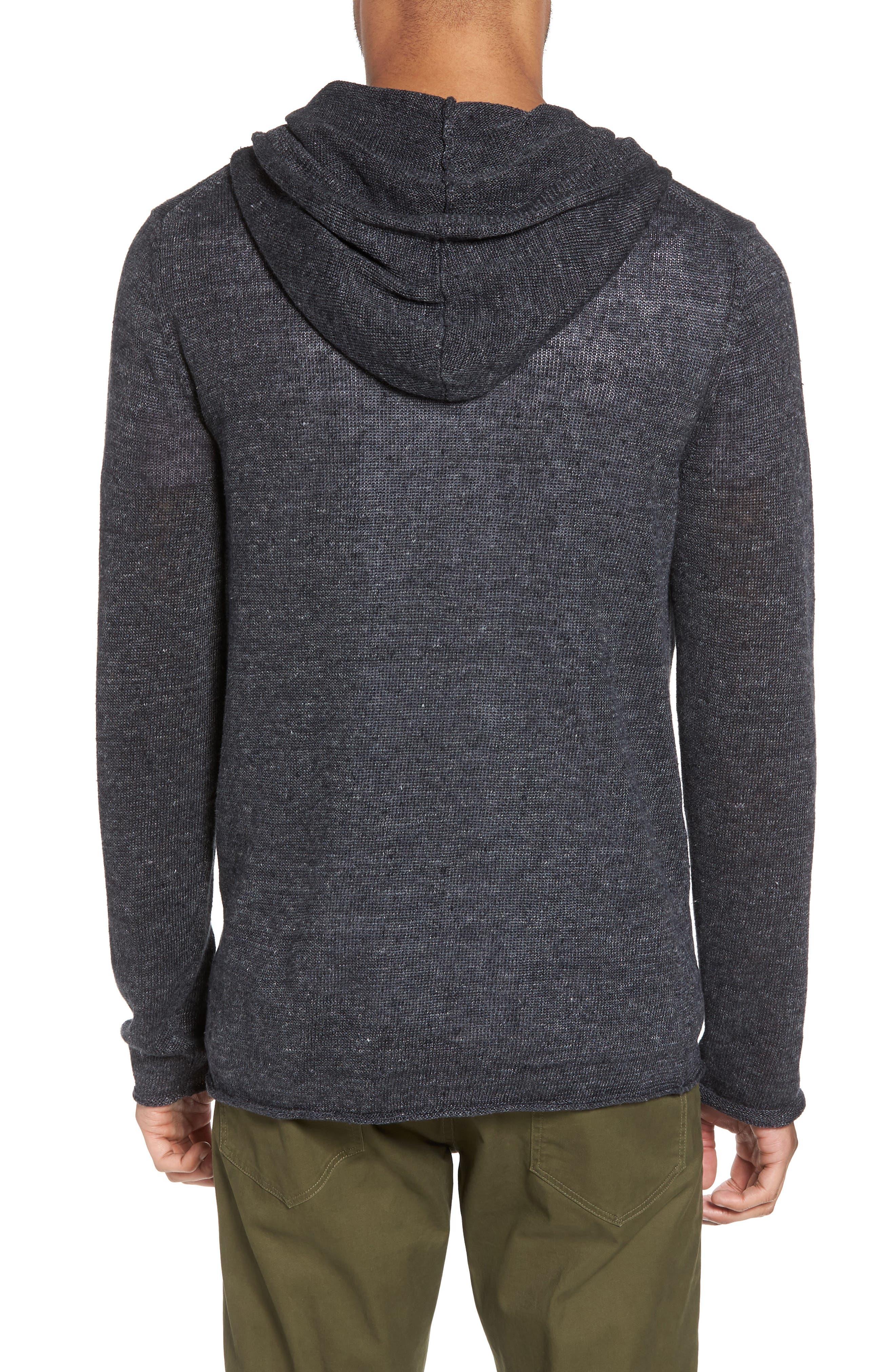Slim Fit Linen Pullover Hoodie,                             Alternate thumbnail 2, color,                             001