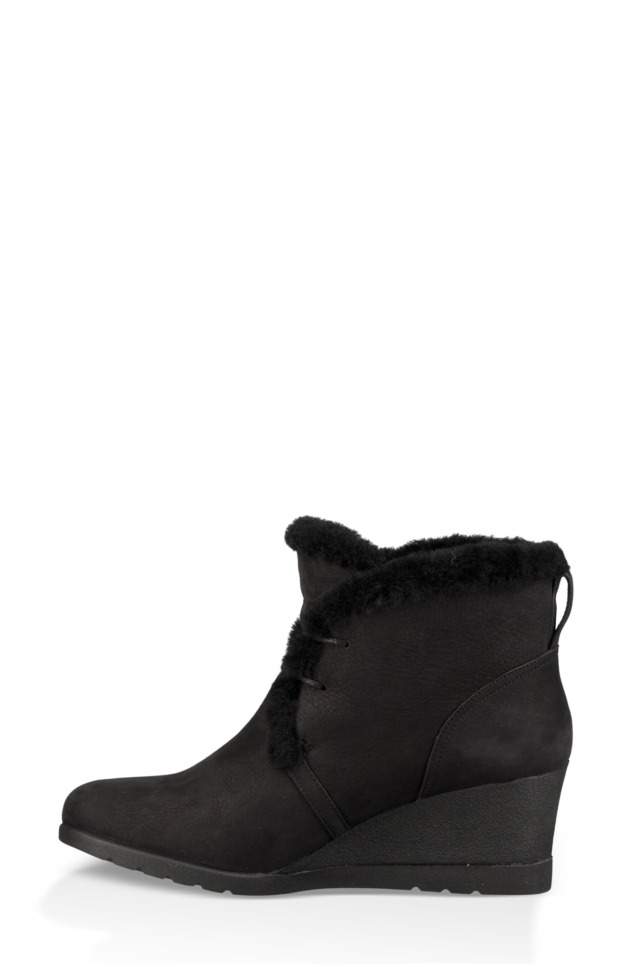 Jeovana Genuine Shearling Lined Boot,                             Alternate thumbnail 7, color,                             BLACK SUEDE