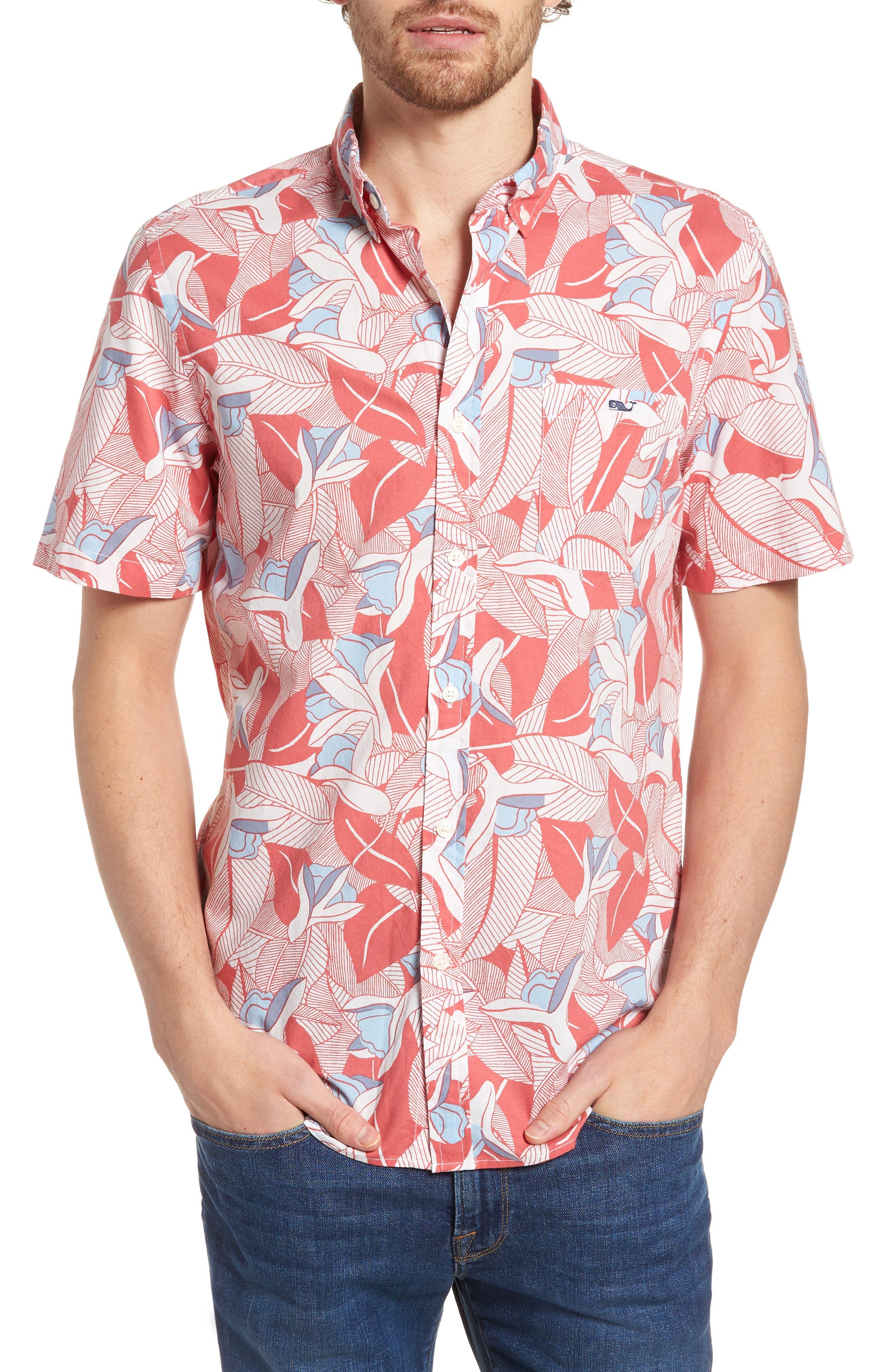 Flowers & Leaves Classic Fit Print Short Sleeve Sport Shirt,                             Main thumbnail 1, color,