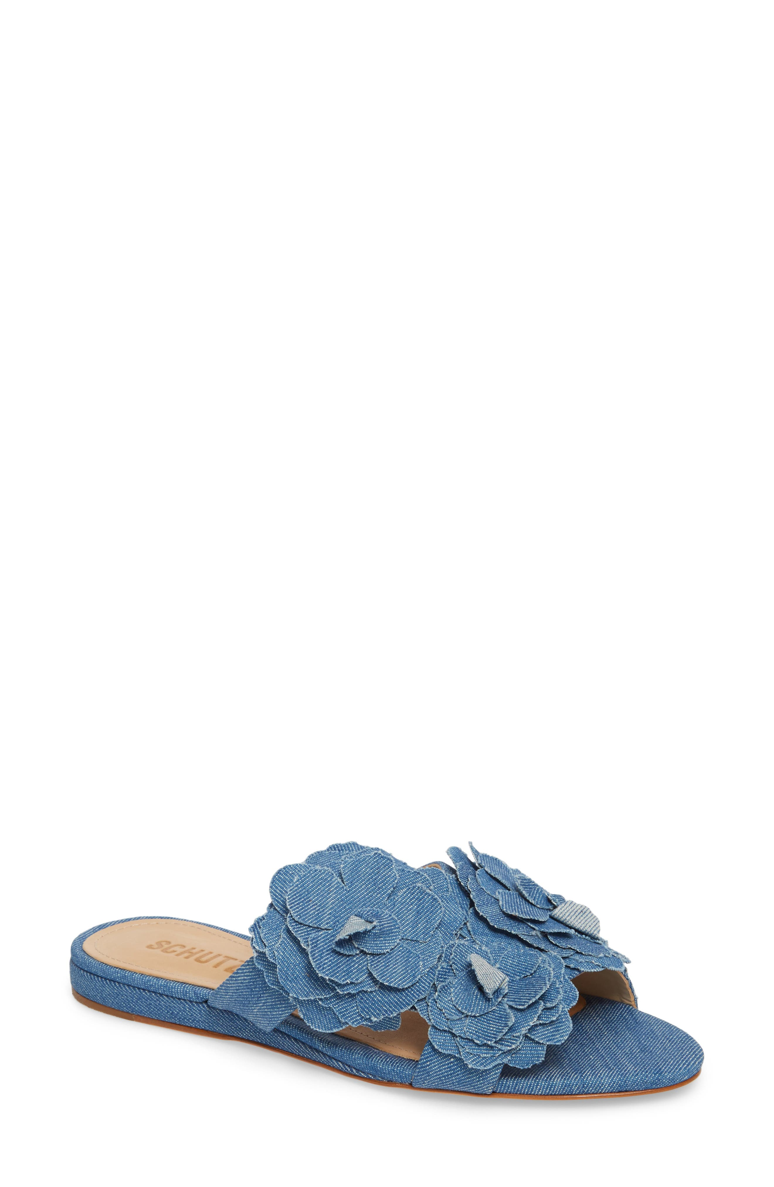 Ilaria Flower Sandal,                         Main,                         color, LIGHT BLUE