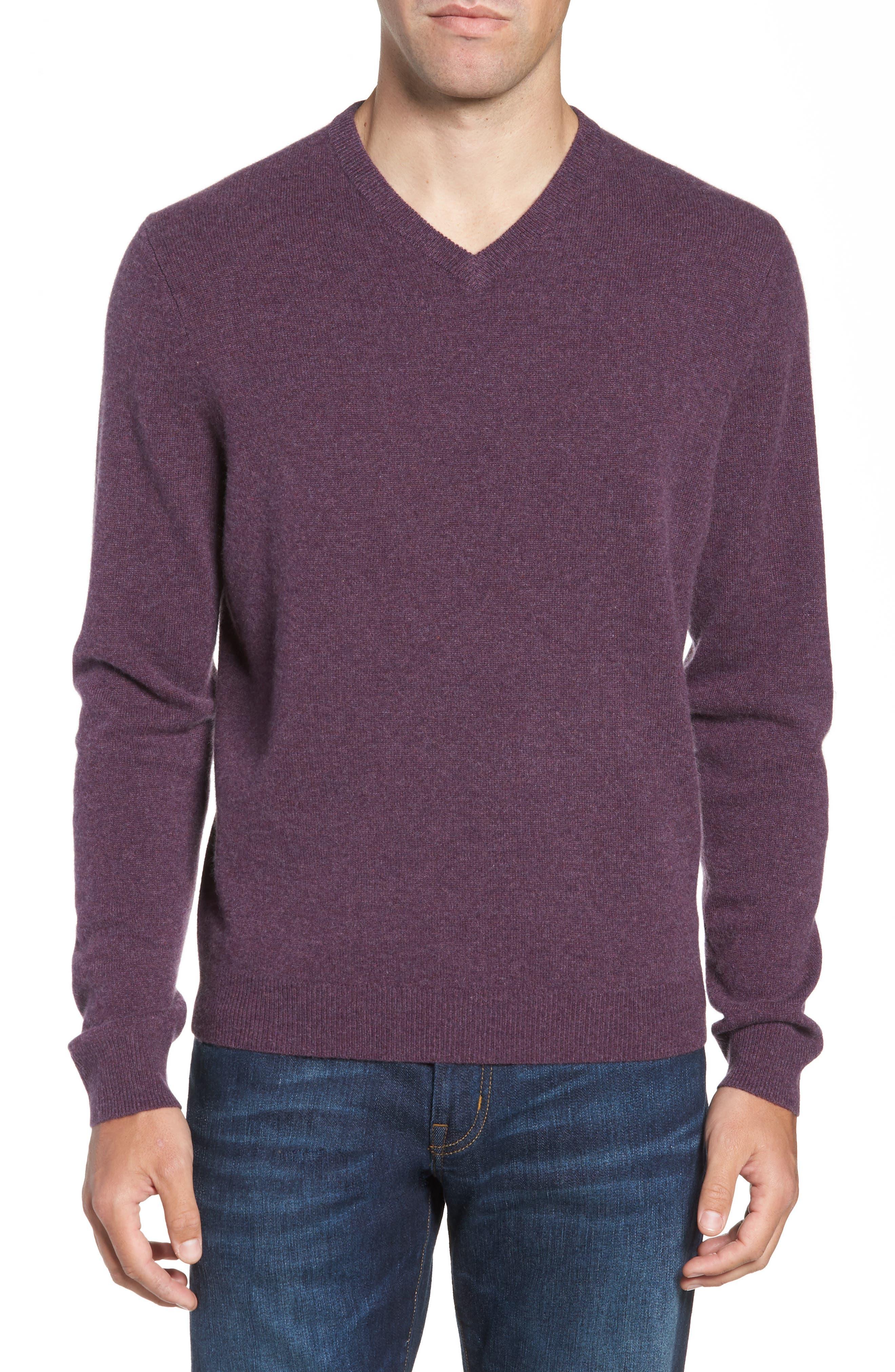 Nordstrom Shop Cashmere V-Neck Sweater, Purple