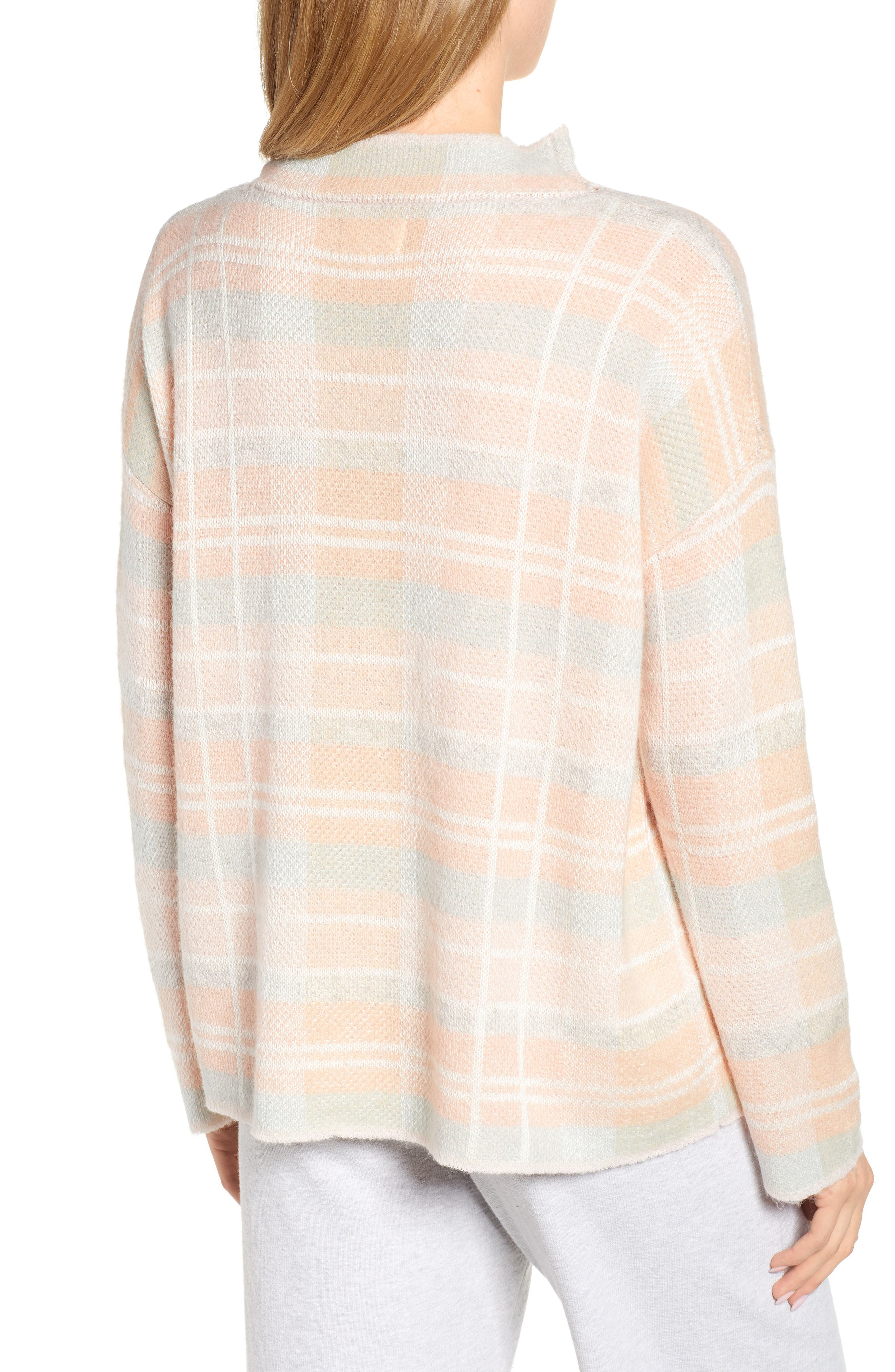 Plaid Mock Neck Sweater,                             Alternate thumbnail 2, color,                             PINK PLAID AS SWATCH