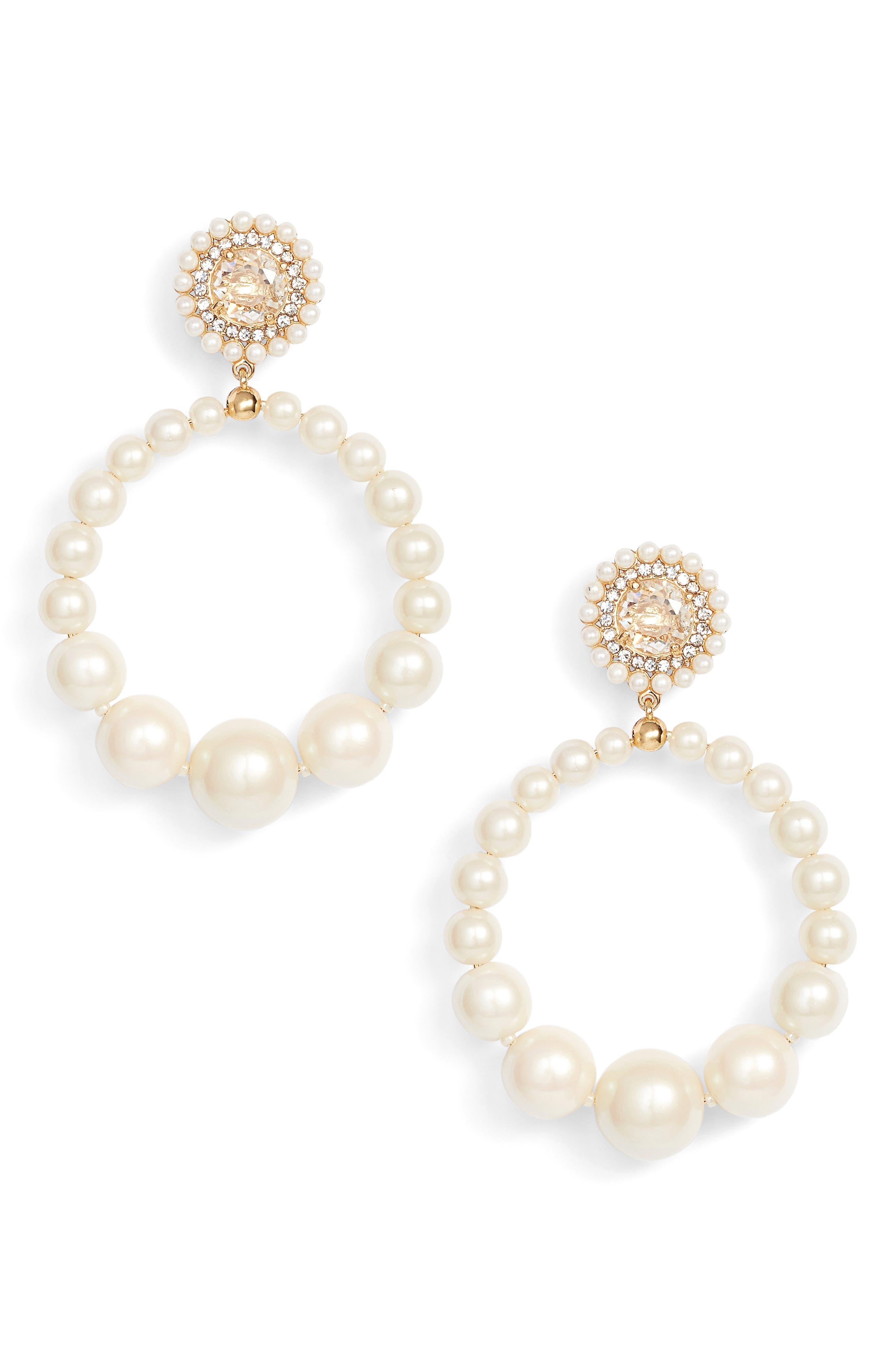 imitation pearl frontal hoop earrings,                         Main,                         color, 143