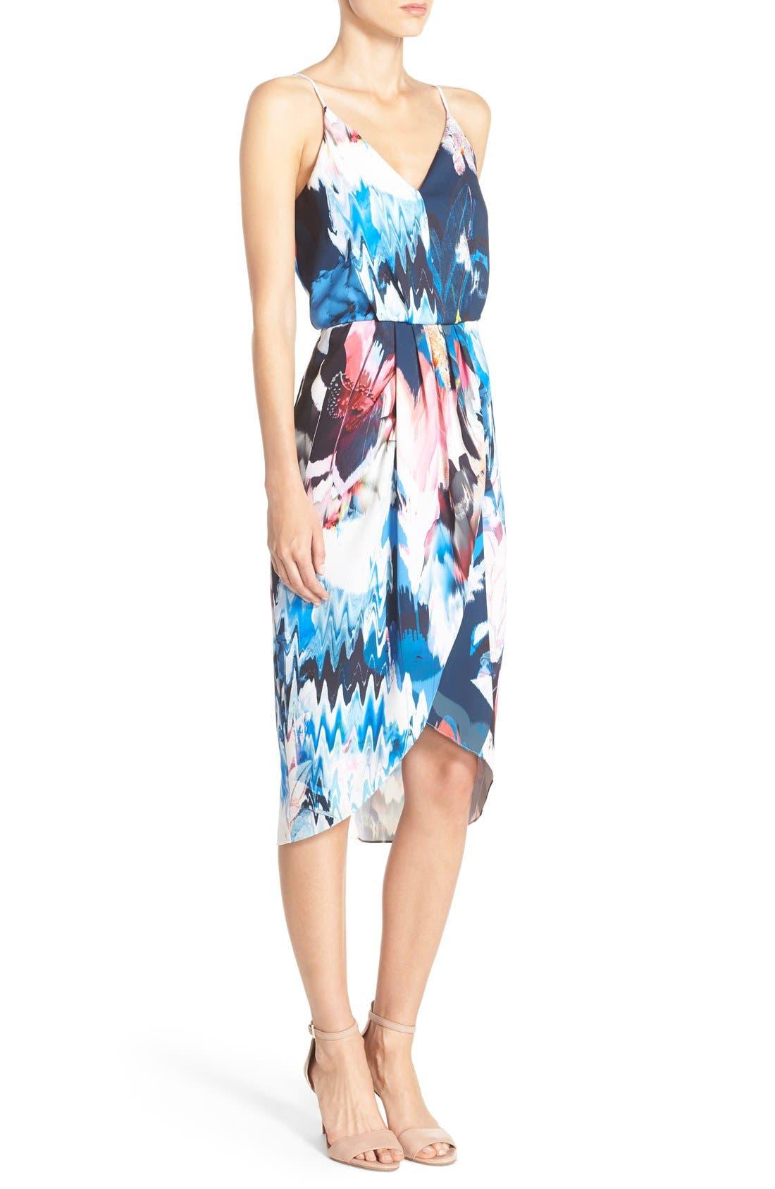 Print Faux Wrap Dress,                             Alternate thumbnail 8, color,                             BLUE WATERCOLOR FLORAL PRINT