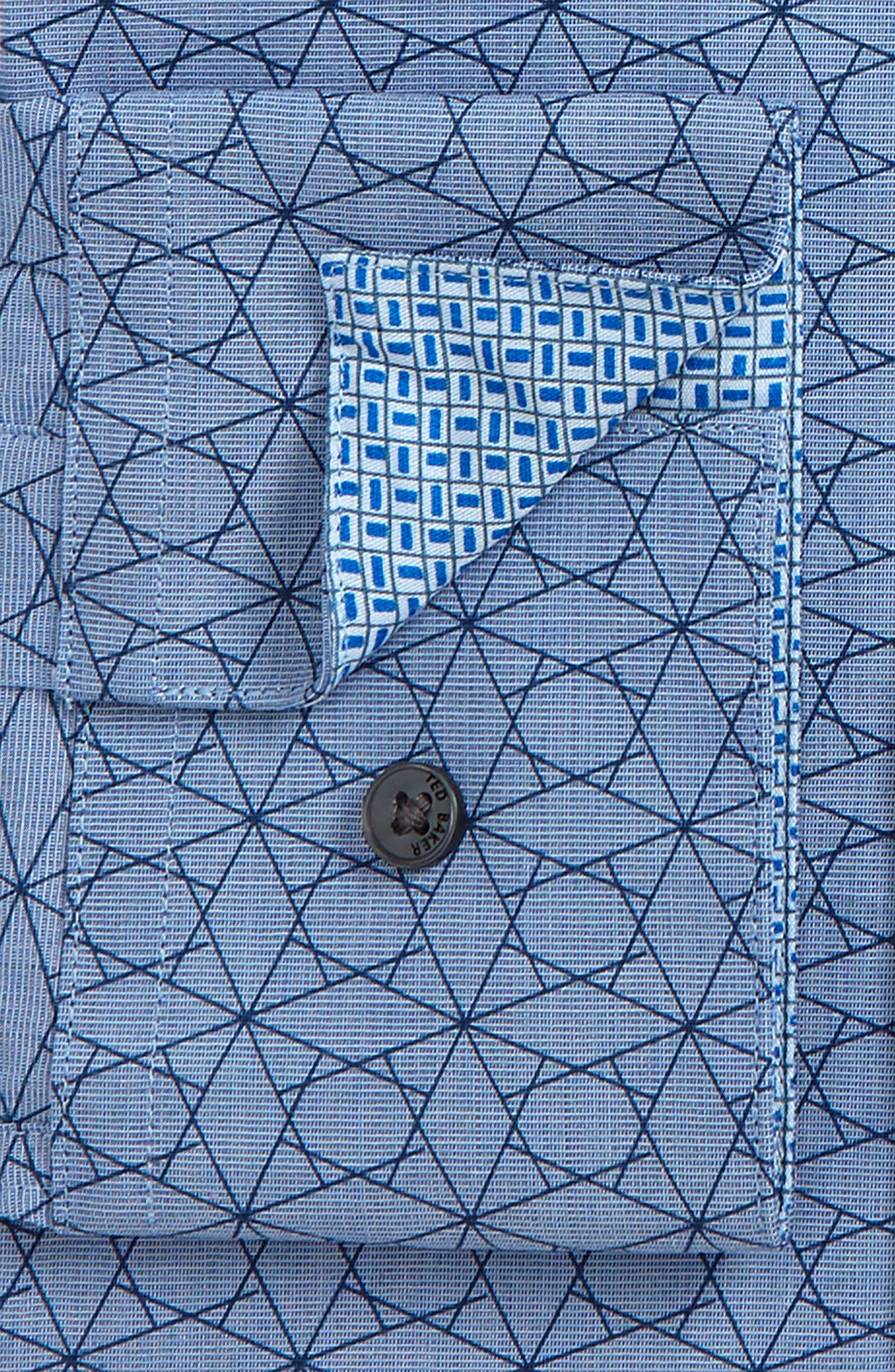 Endurance Madamm Trim Fit Geometric Dress Shirt,                             Alternate thumbnail 2, color,                             BLUE