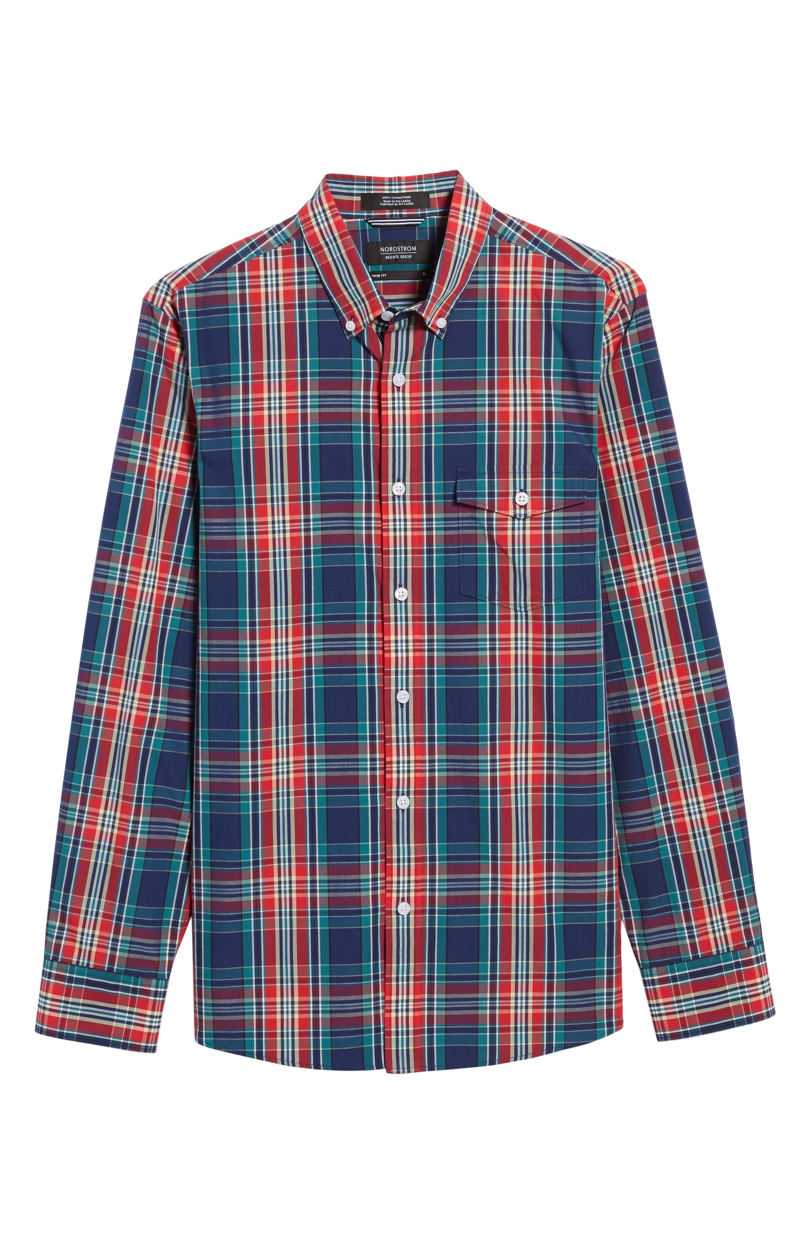 Ivy Trim Fit Plaid Sport Shirt,                             Alternate thumbnail 6, color,                             610