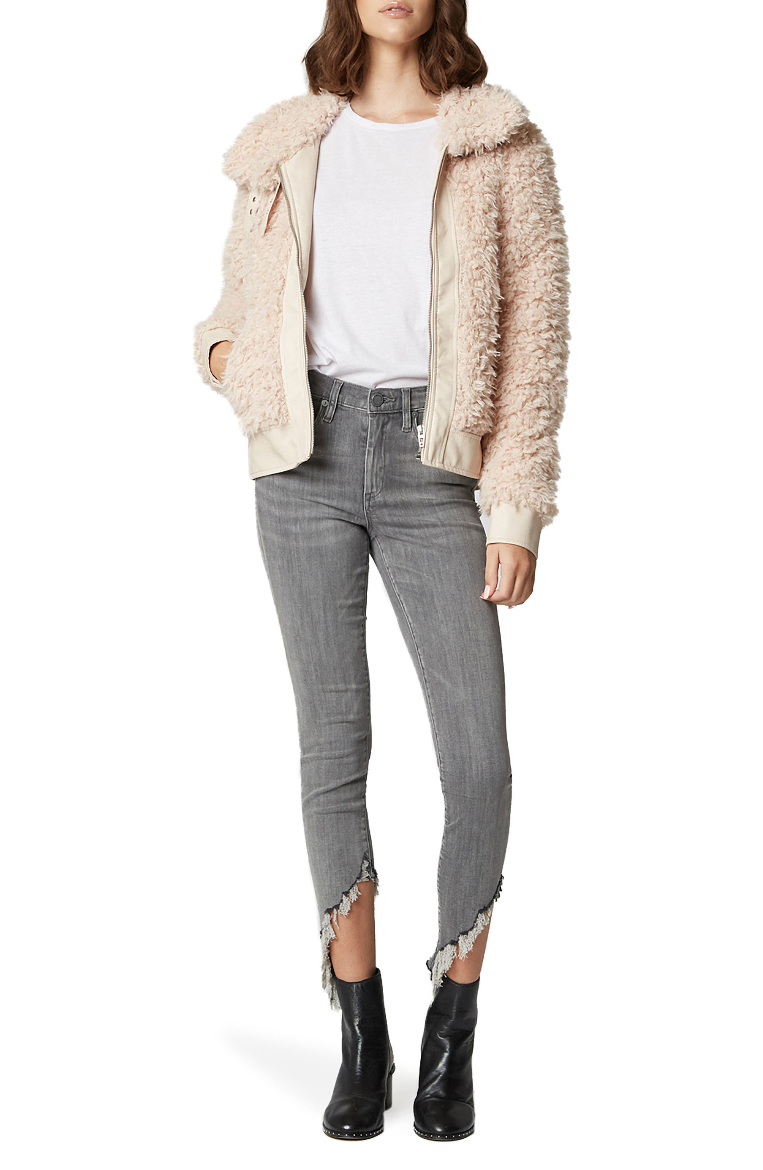 Curly Faux Shearling Jacket,                             Alternate thumbnail 4, color,                             CLOUD NINE