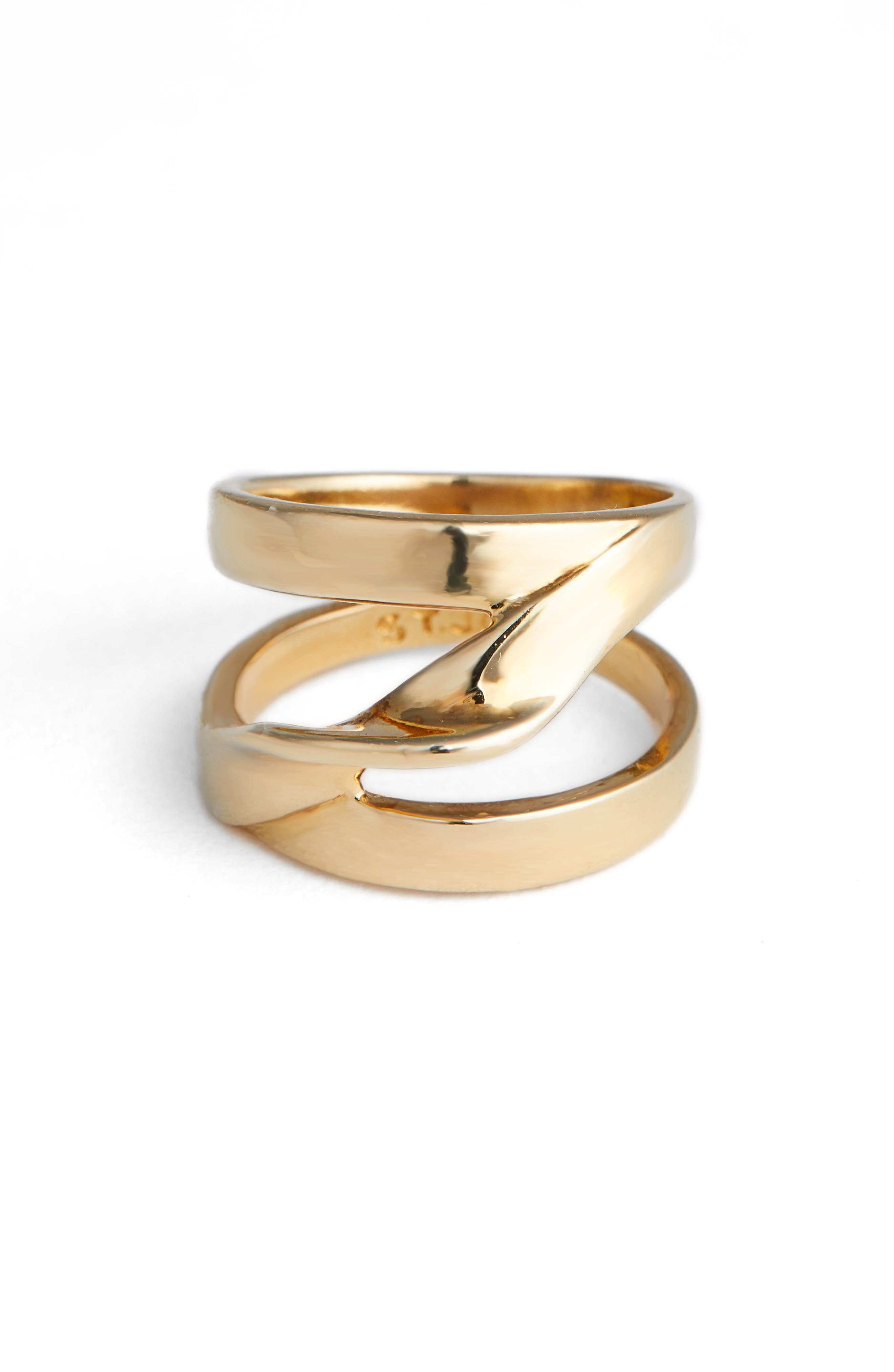 ST. JOHN COLLECTION Twist Metal Ring, Main, color, LIGHT GOLD