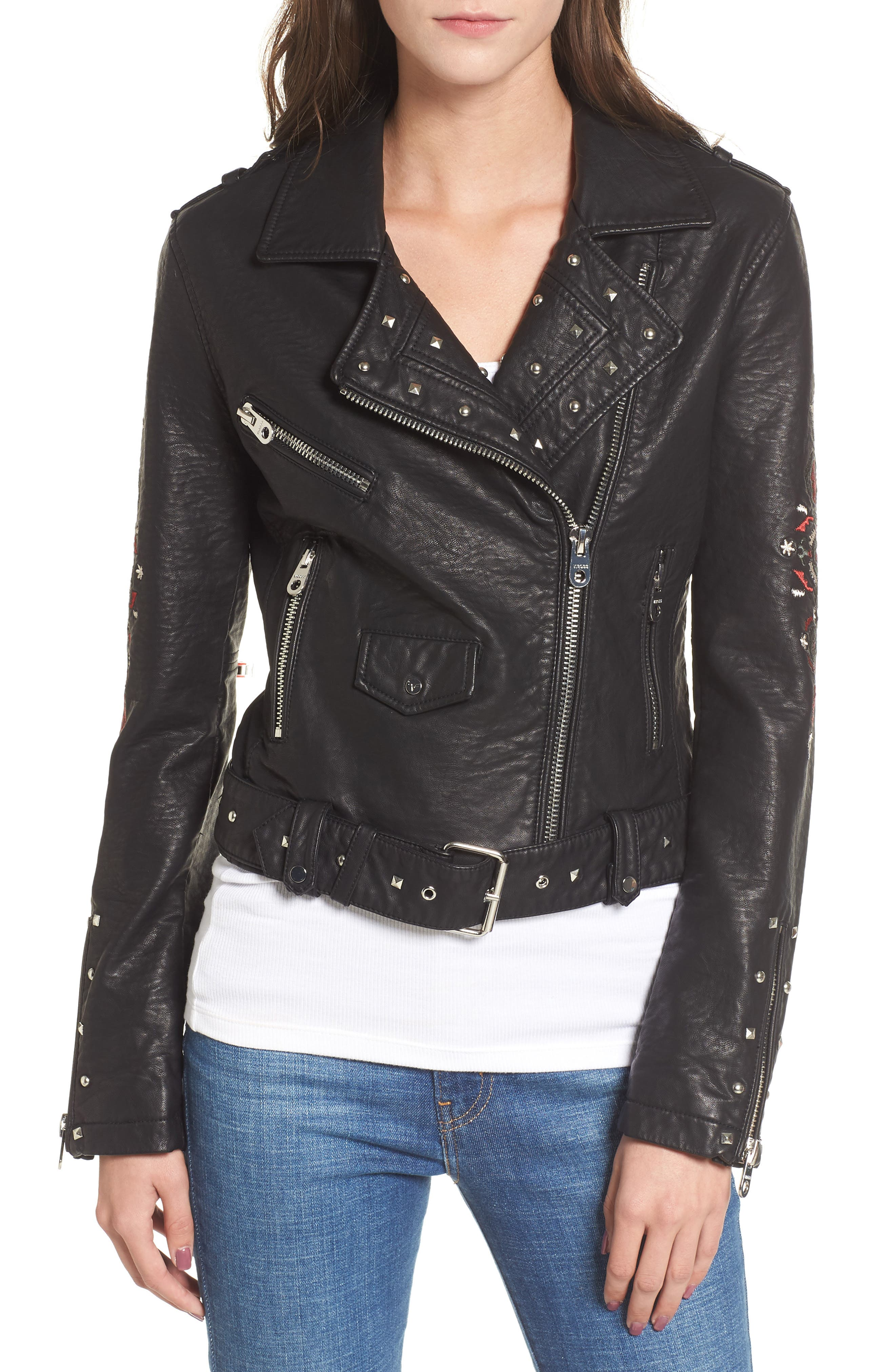 Studded & Embroidered Faux Leather Moto Jacket,                             Alternate thumbnail 4, color,                             001