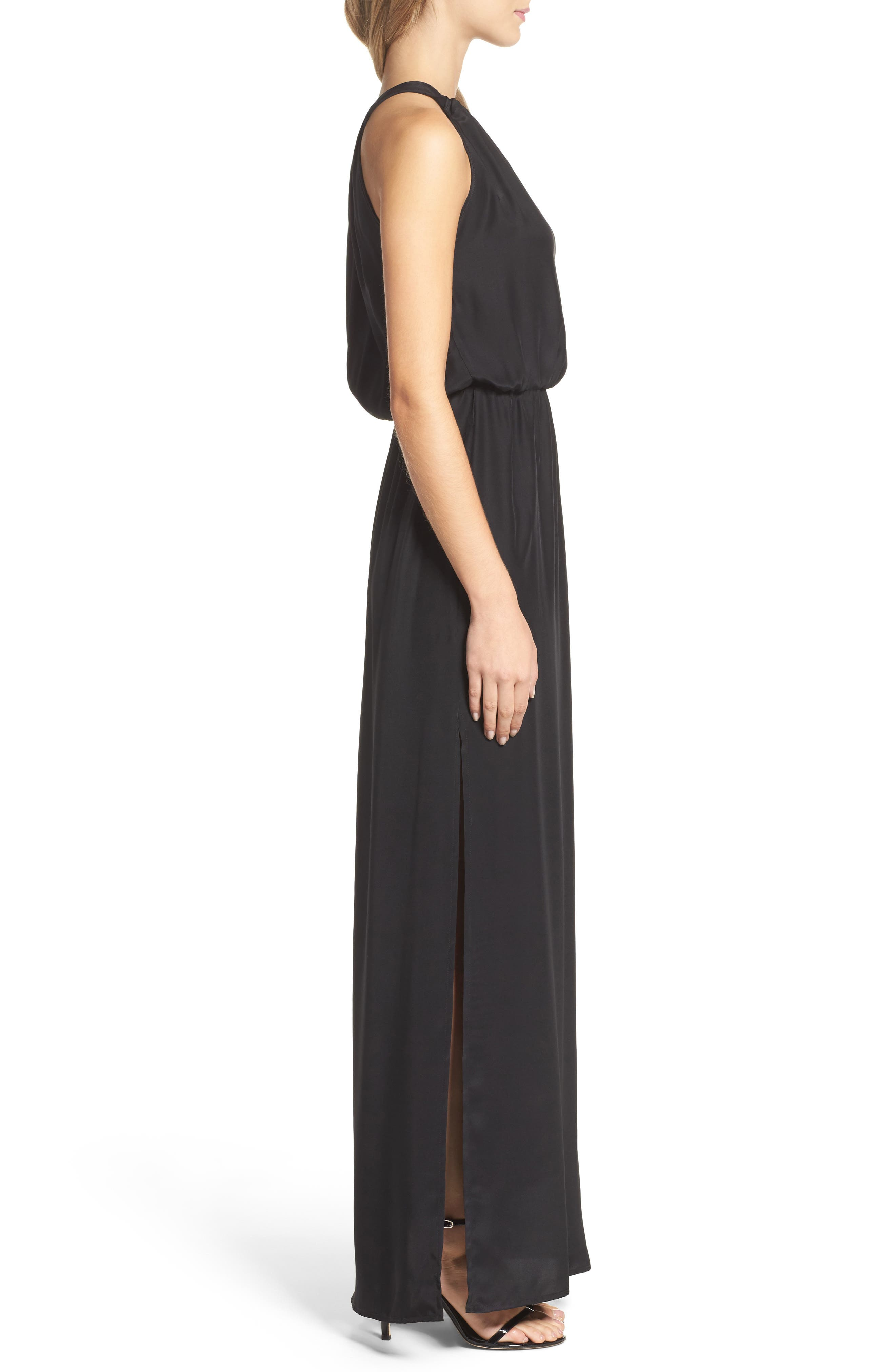 High Neck Silk Column Gown,                             Alternate thumbnail 3, color,                             001