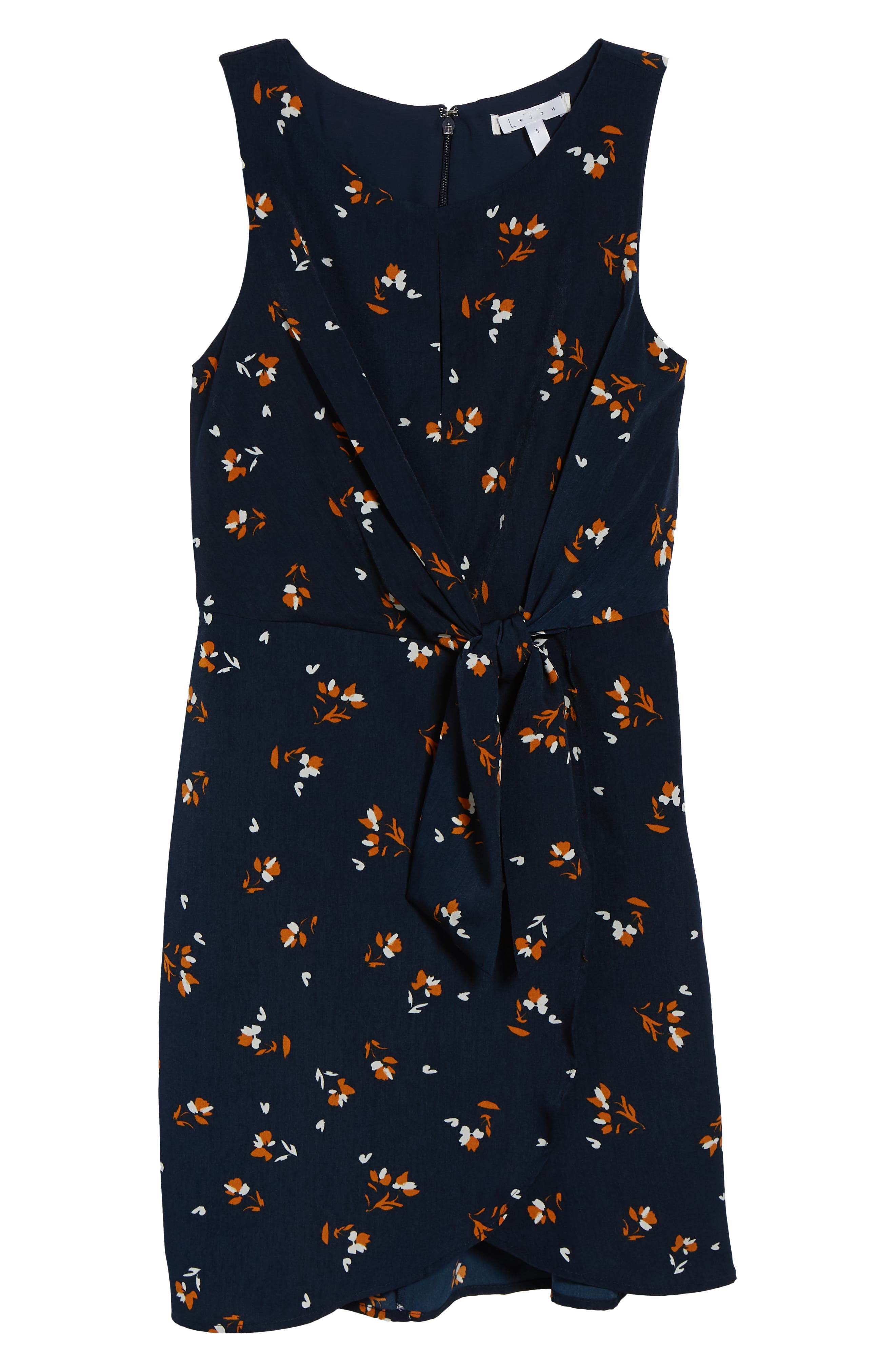 Tie-Front Mini Dress,                             Alternate thumbnail 7, color,                             NAVY EVENING DITSY FLORAL