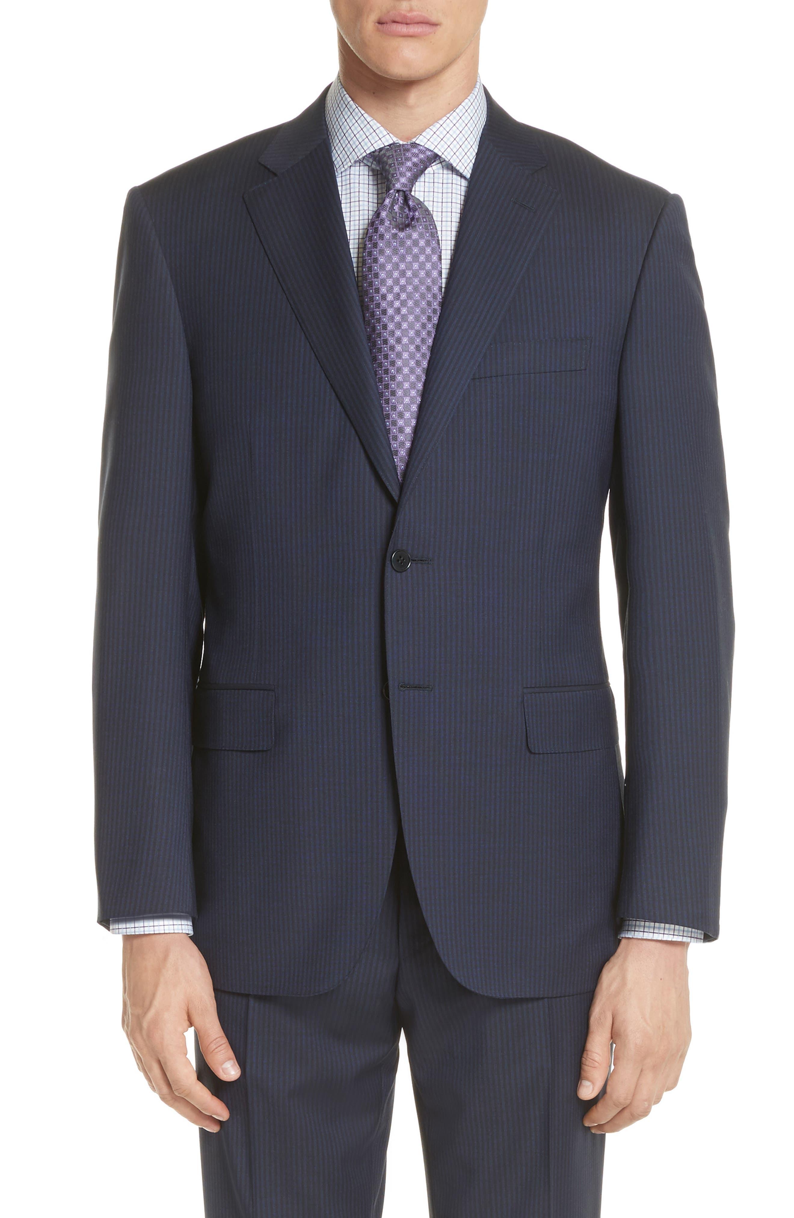 Classic Fit Stripe Wool Suit,                             Alternate thumbnail 5, color,                             020