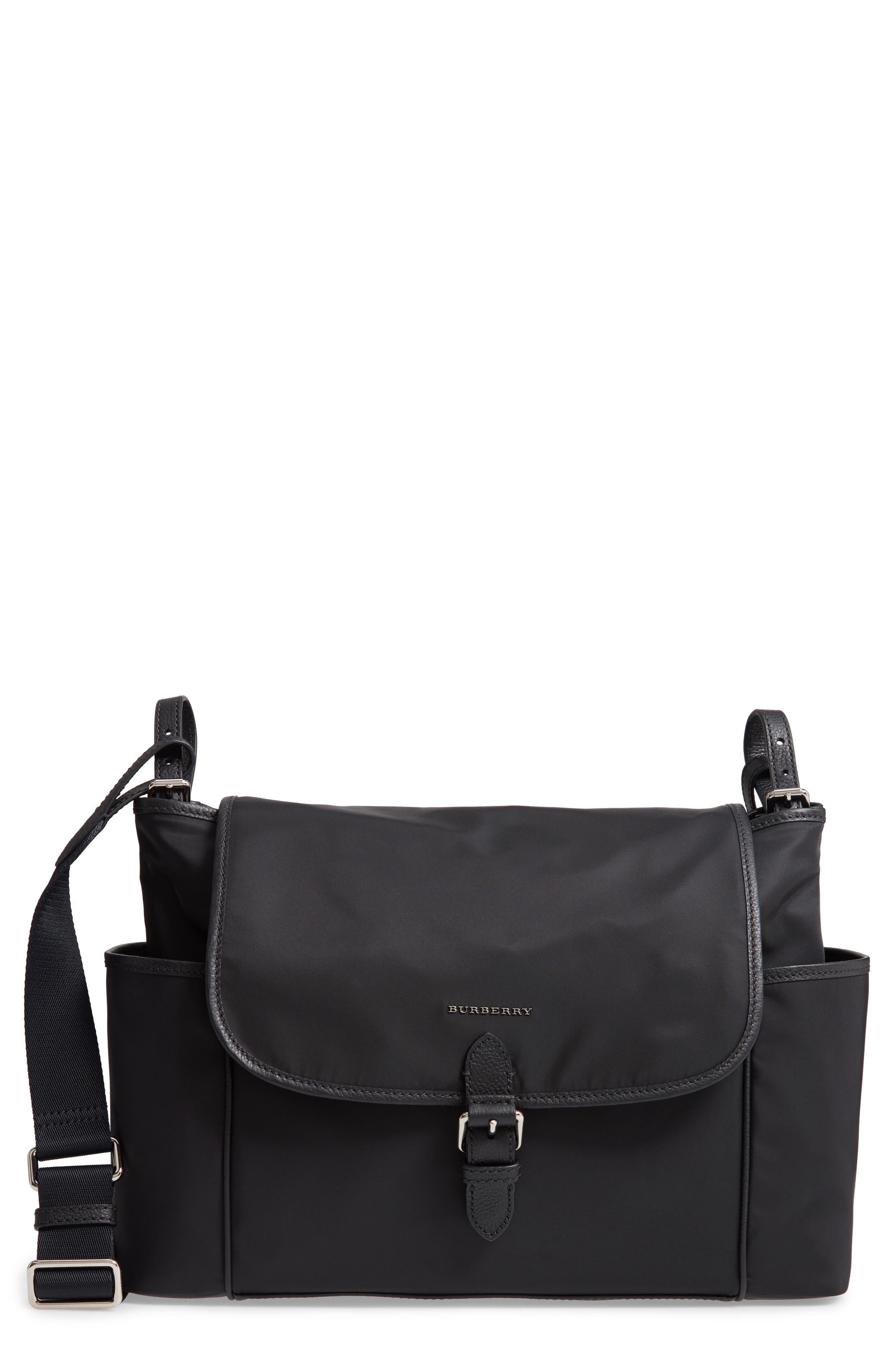 Flap Nylon Diaper Bag,                             Main thumbnail 1, color,                             BLACK